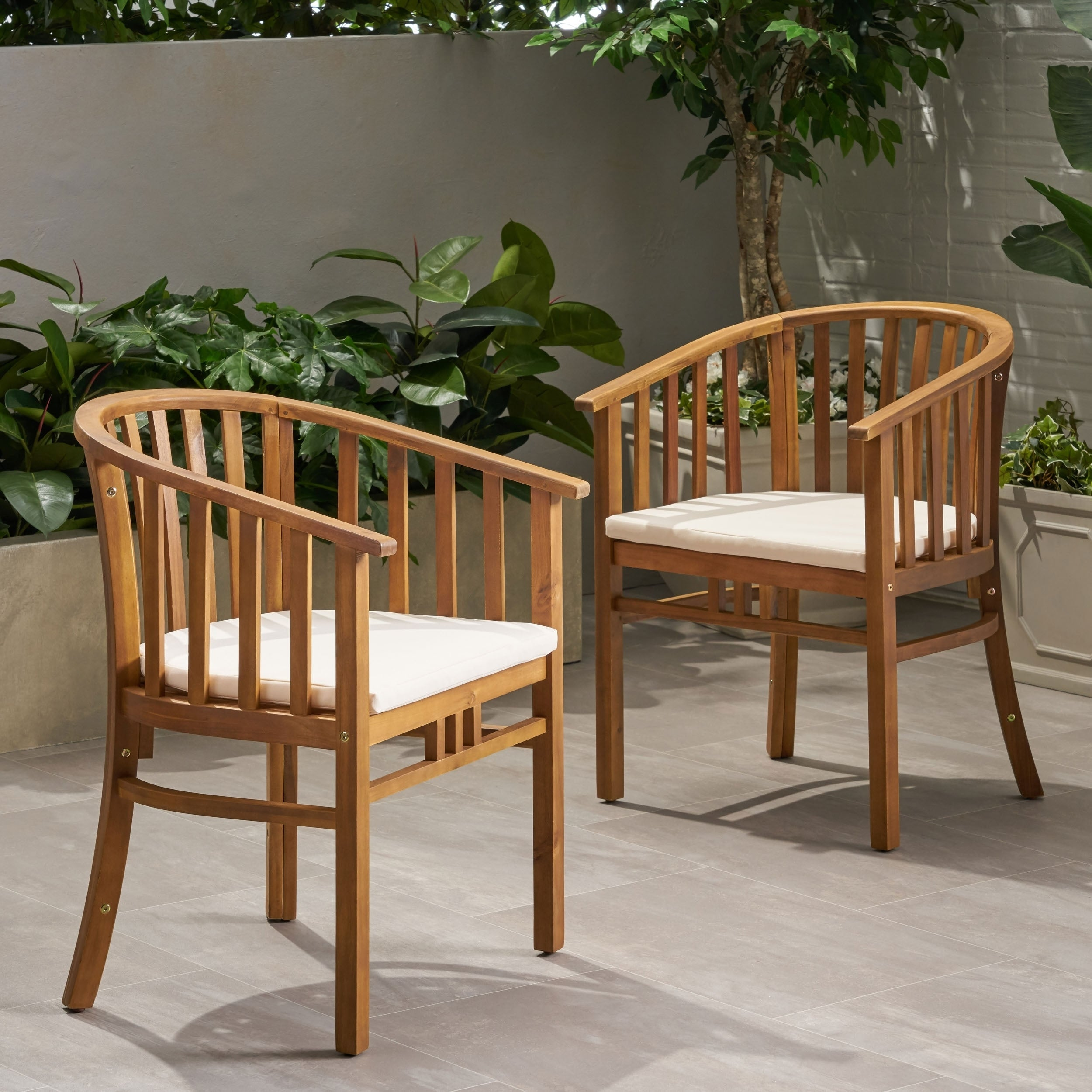 Alondra Outdoor Wooden Dining Chairs With Cushions Set Of 2 By Christopher Knight Home