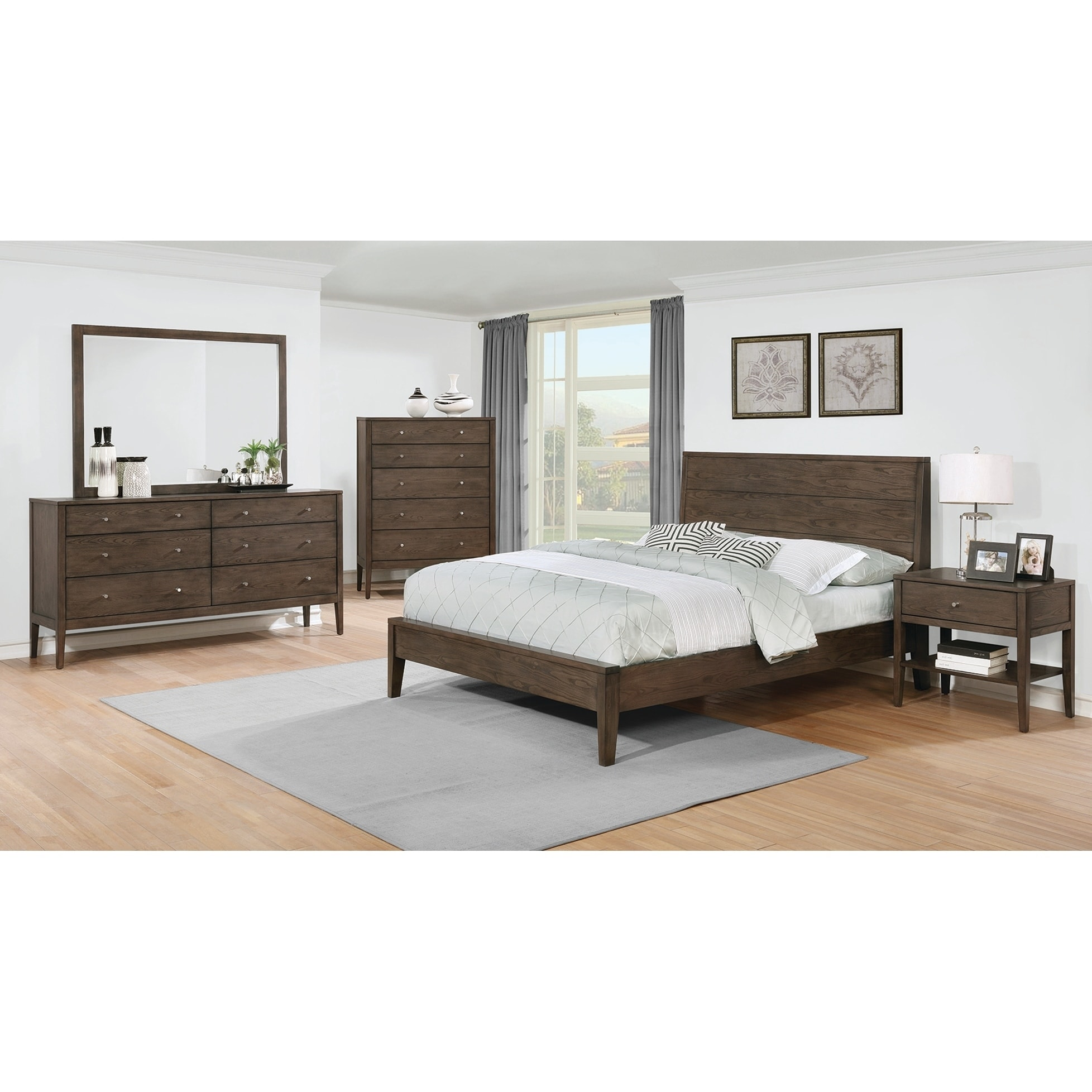 Shop Lubbock Mid Century Modern Brown Walnut 4 Piece Bedroom Set