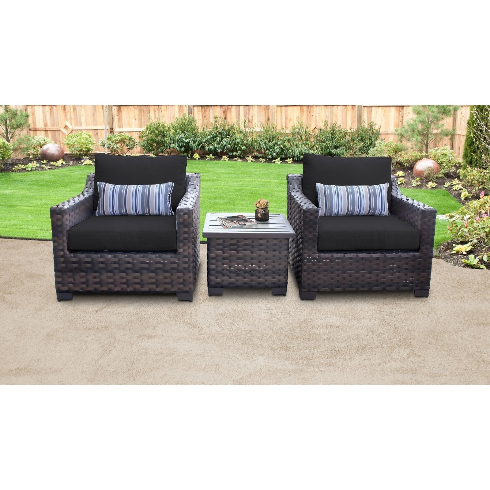 Shop kathy ireland river brook 3 piece outdoor wicker patio furniture set 03a free shipping today overstock 27615223