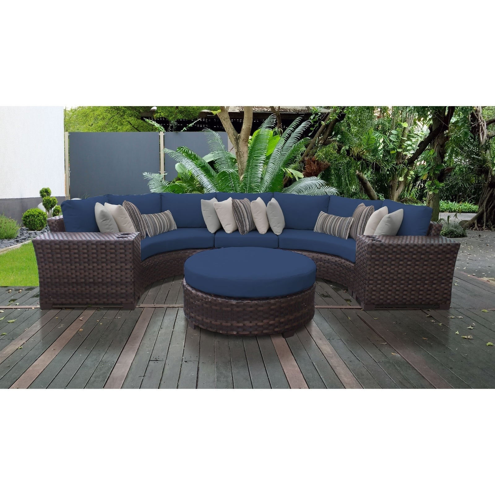 Shop kathy ireland river brook 6 piece outdoor wicker patio furniture set 06c free shipping today overstock 27615229