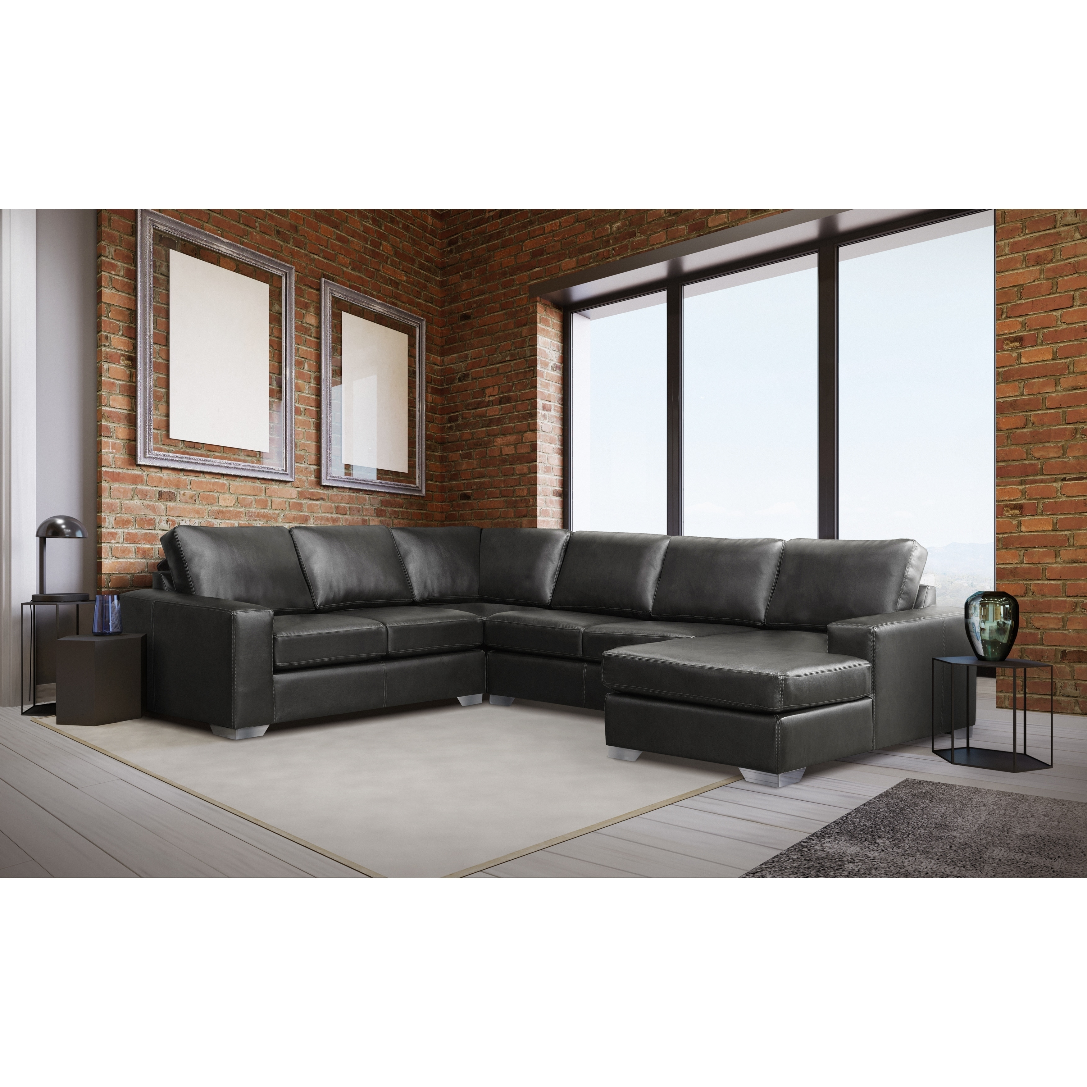 Mitchell Modern Premium Top Grain Italian Leather Sectional Sofa