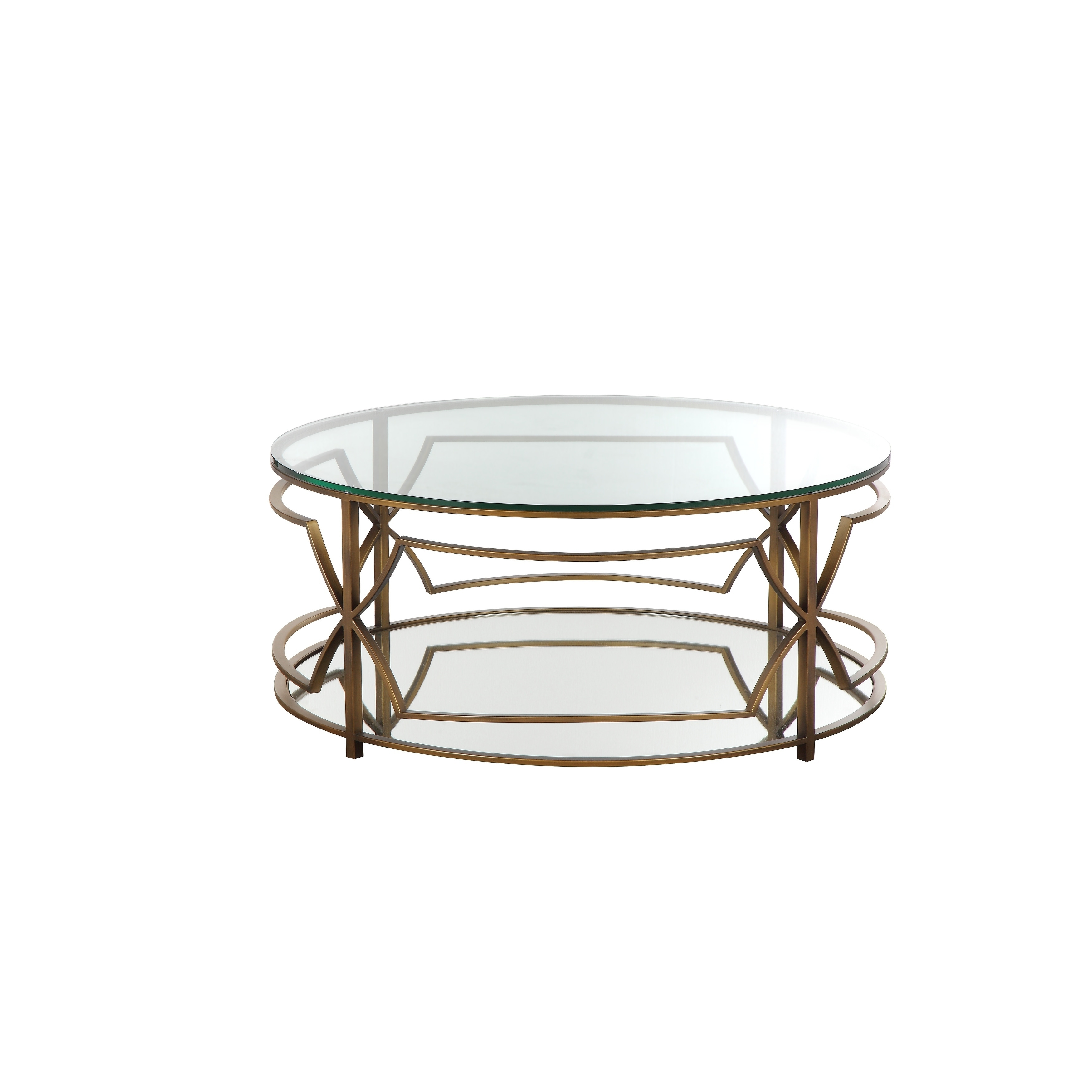 Shop Glass Round Coffee Table With Metal Open Geometric Design Base, Bronze  And Clear   On Sale   Free Shipping Today   Overstock   27633409