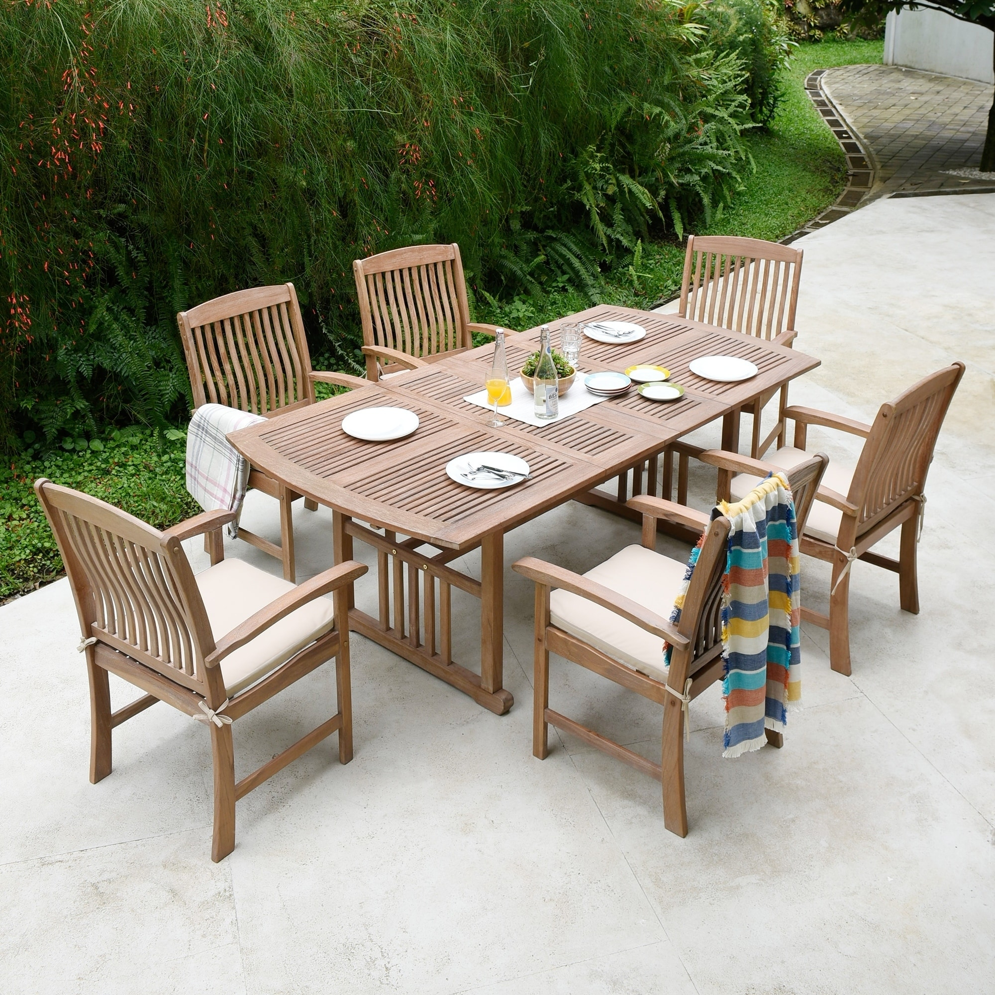 Superieur Havenside Home Chignik Casual 7 Piece Teak Patio Extendable Dining Set