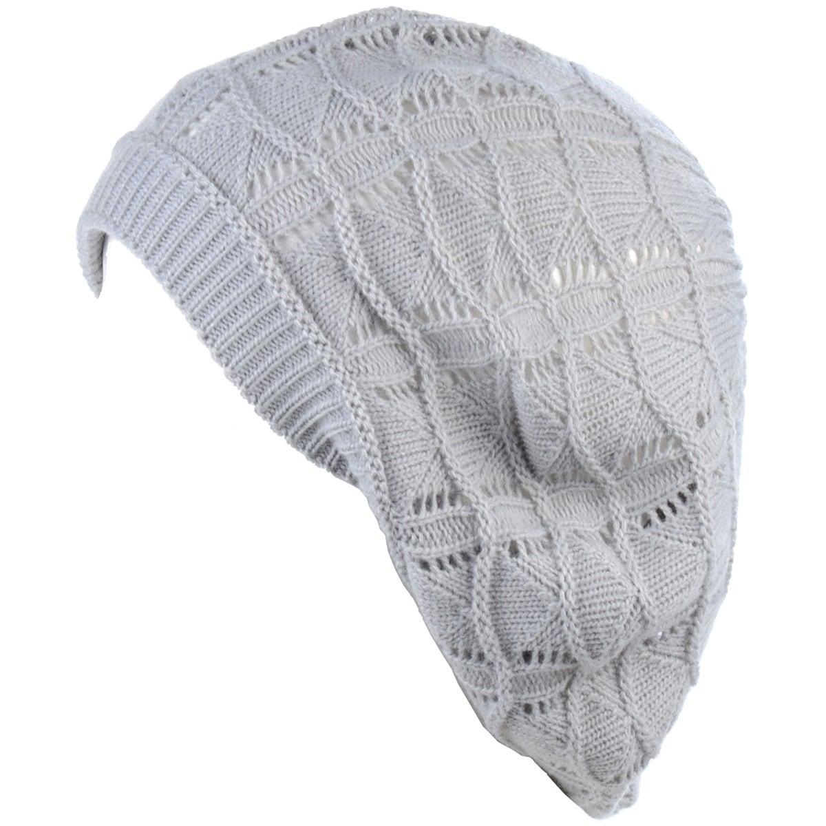 47aa4a351 BYOS Chic Soft Knit Airy Cutout Lightweight Slouchy Crochet Beret Beanie Hat