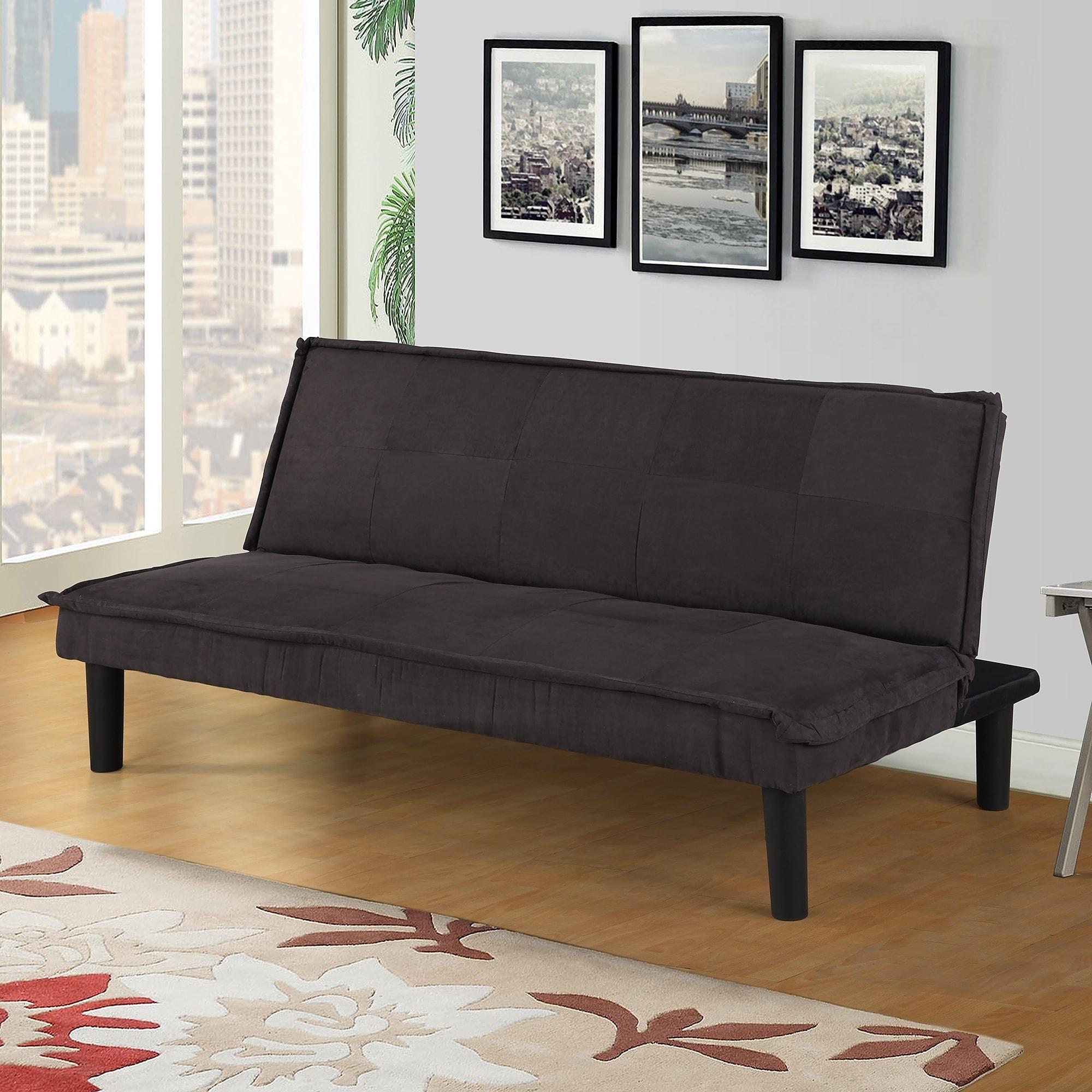 Harper Bright Designs Microfiber Futon Sofa Bed Recliner Couch