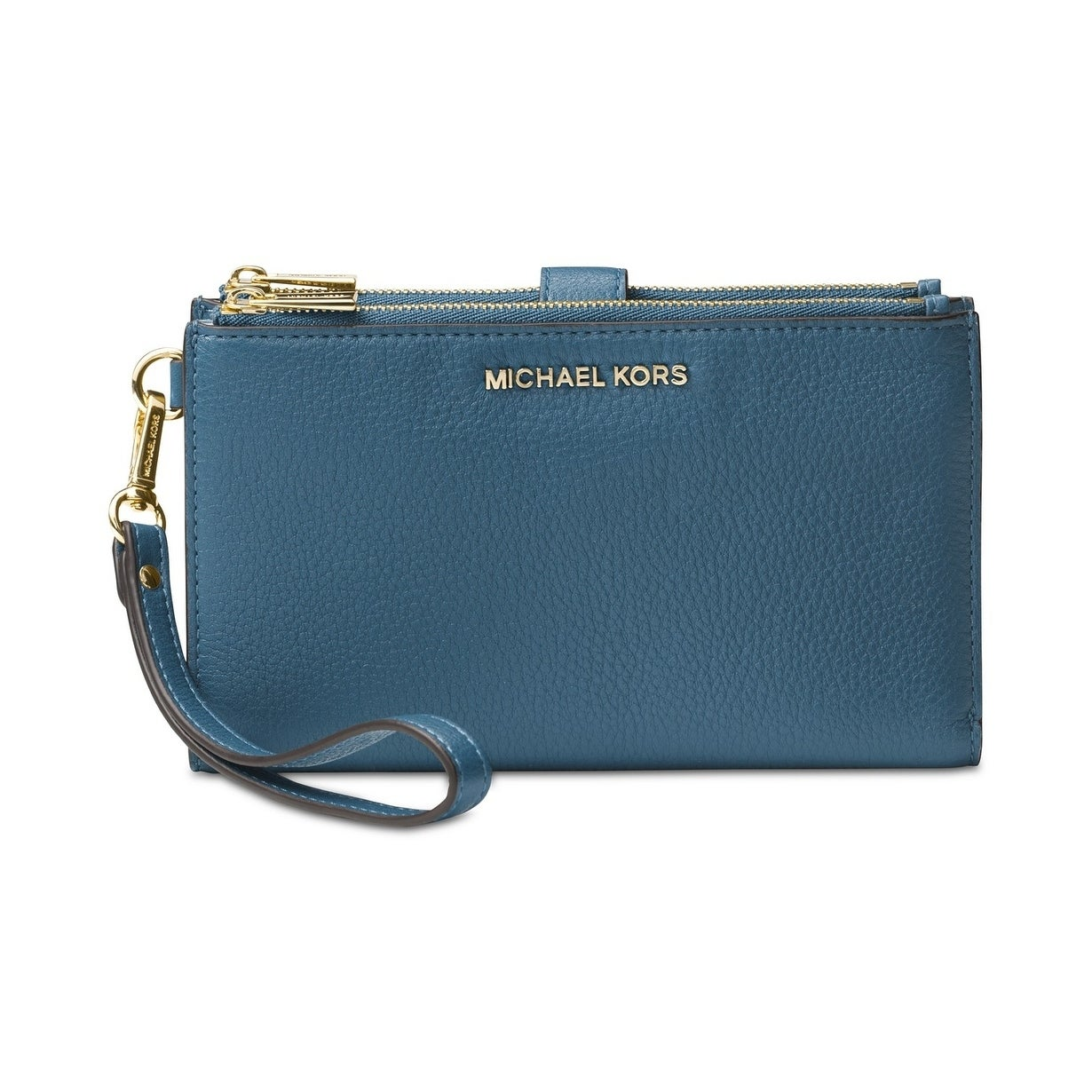 261d66dd9044 Shop MICHAEL Michael Kors Adele Double-Zip Pebble Leather Phone Wristlet  Dark Chambray - Free Shipping Today - Overstock - 27747438