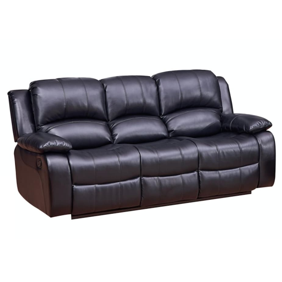 Superieur Vanity Art Bonded Leather Reclining Sofa In (Black/Brown) 8018 3   N/A
