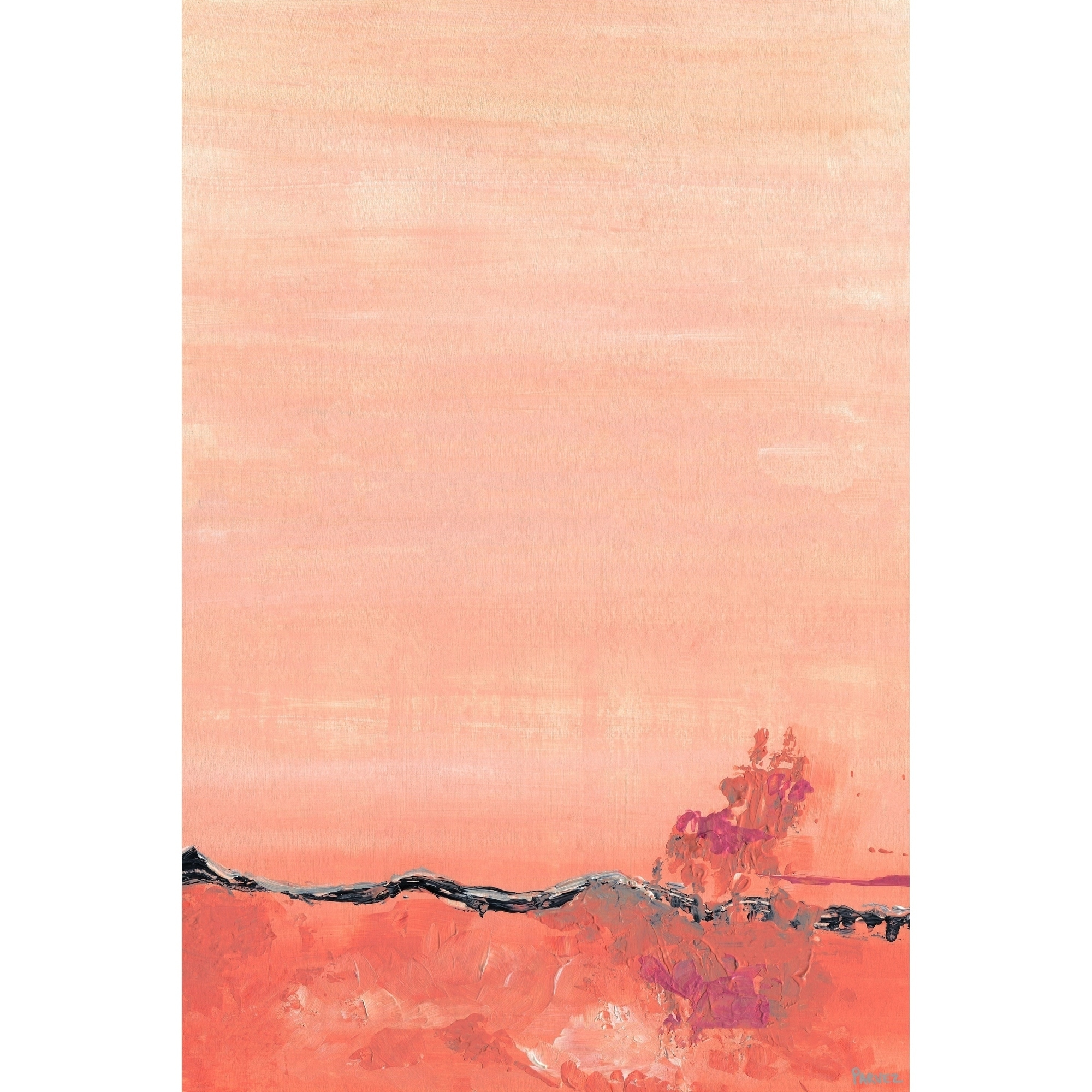 'Apricot Wave' Painting Print on Wrapped Canvas