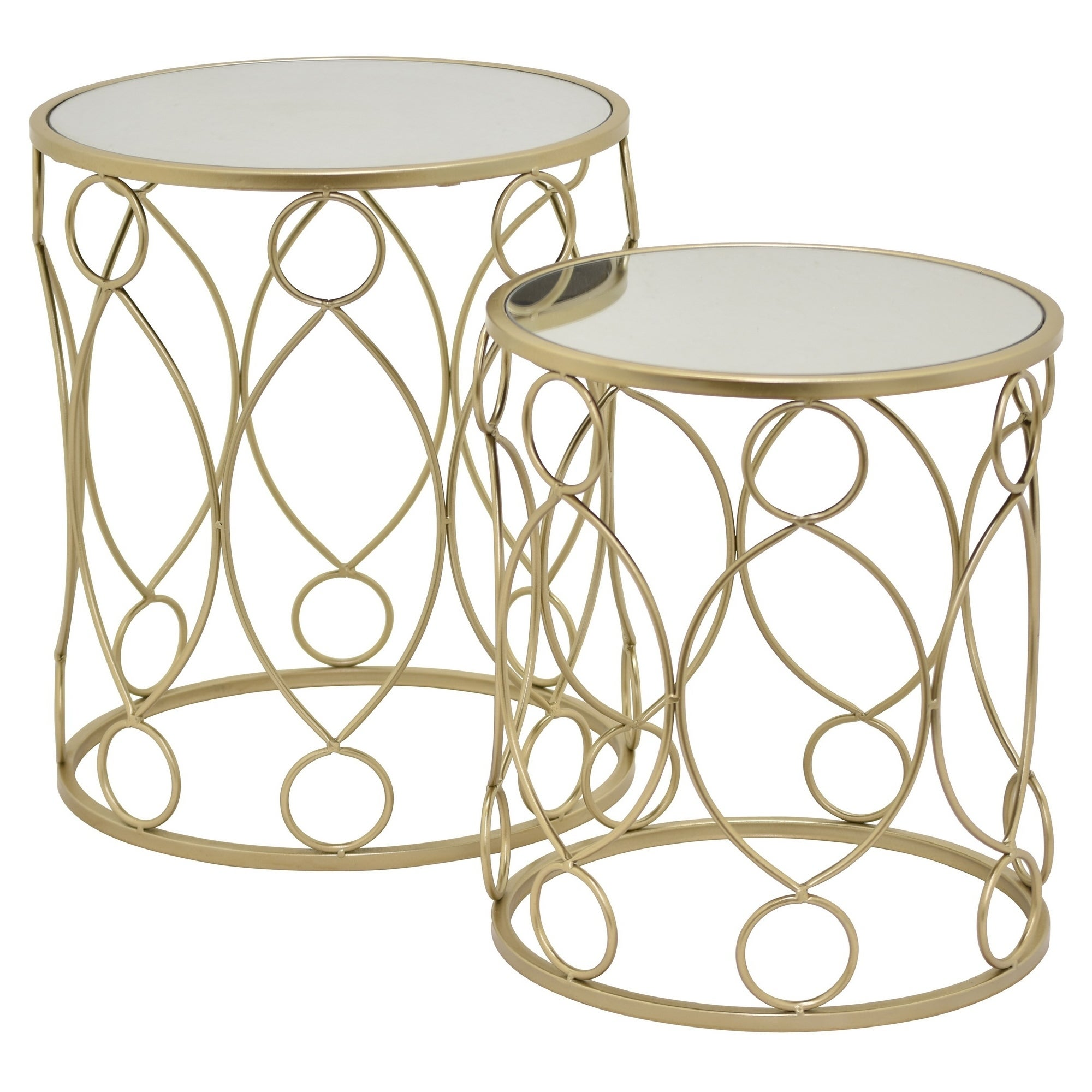 Three Hands Champagne Finish And Mirror Table Set Of 2