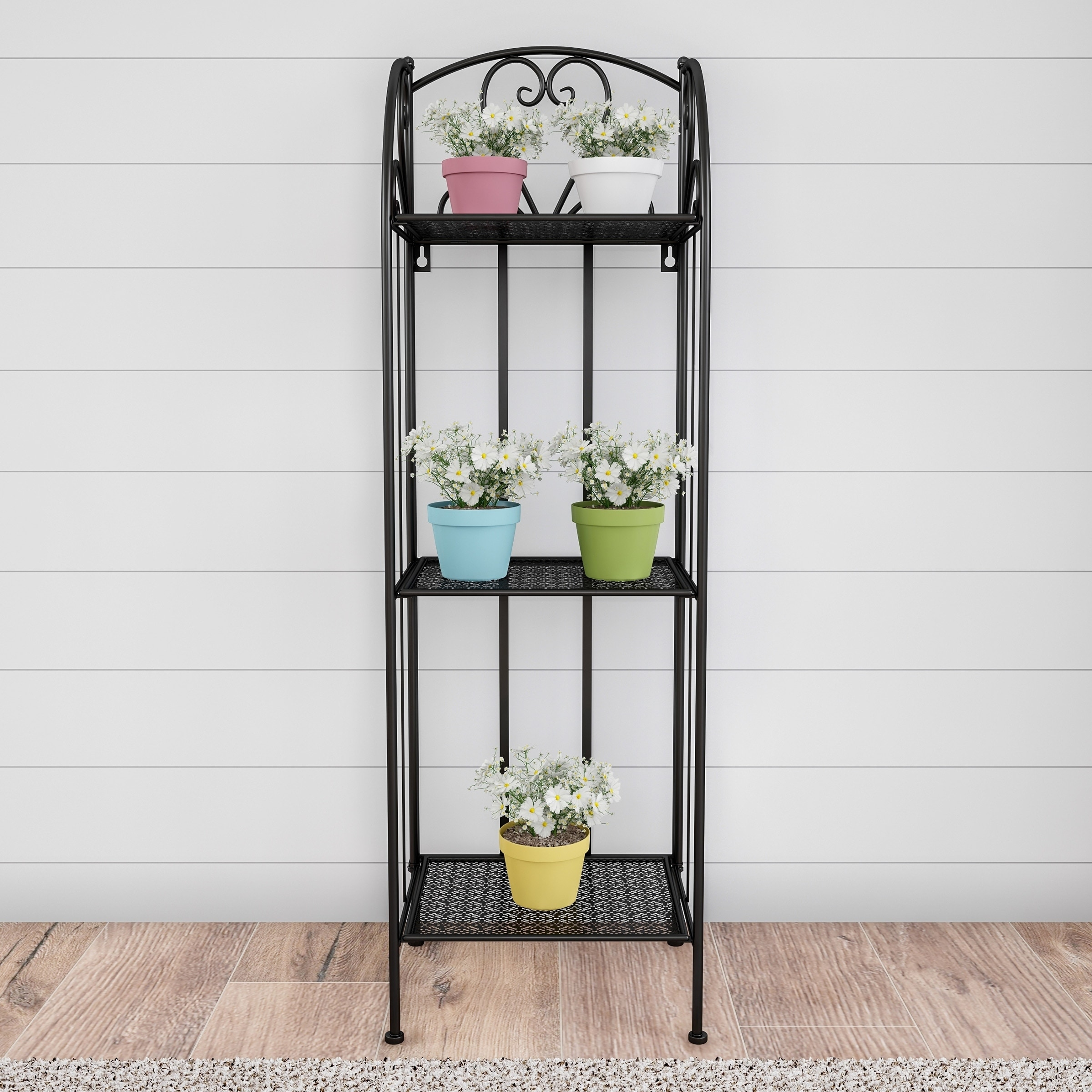 Plant Stand 3 Tier Vertical Shelf Folding Wrought Iron Metal Home And Garden Display With Staggered Shelves By Pure Garden Overstock 27866275