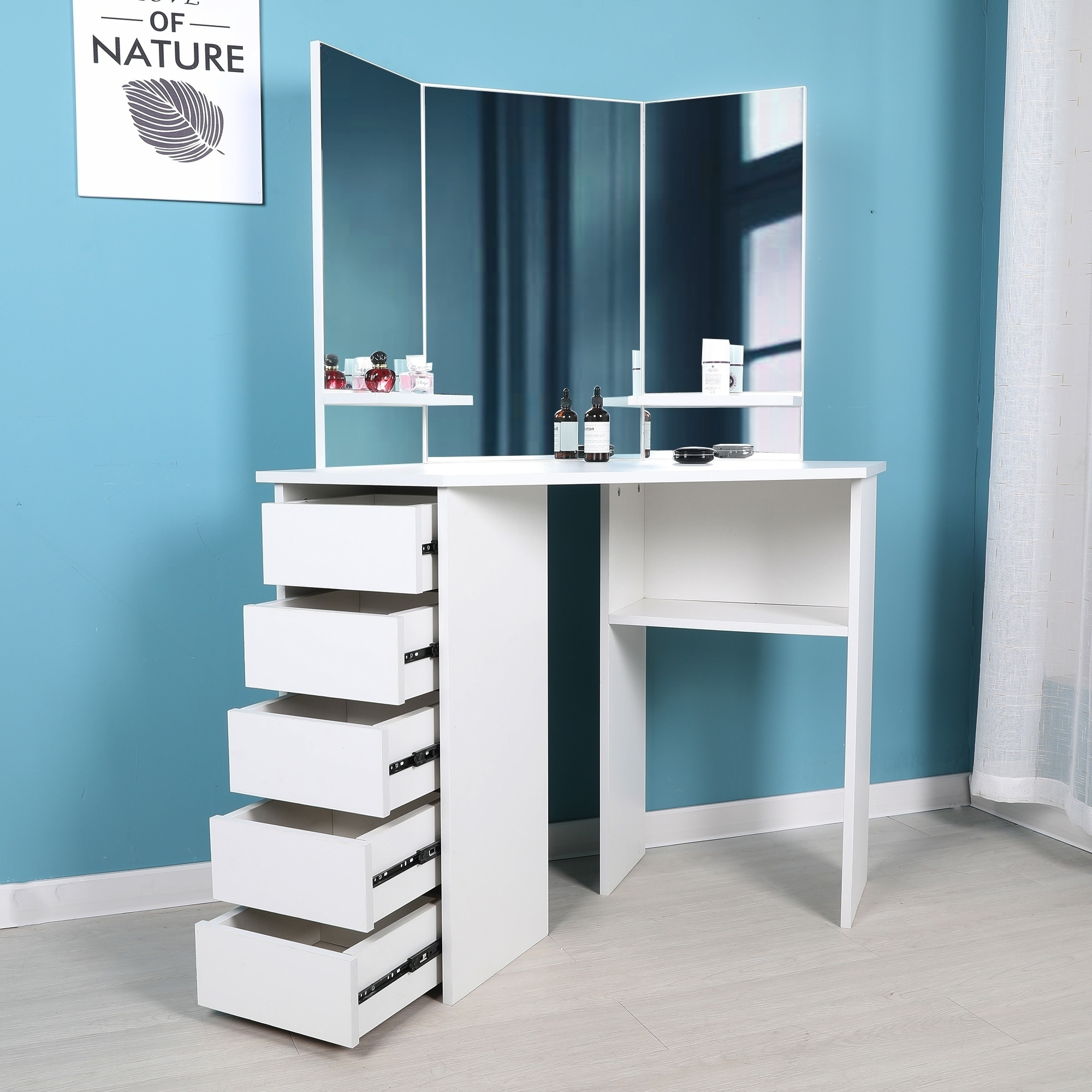 Victoria Corner Makeup Table With Mirror And Integrated Storage Overstock 27871639