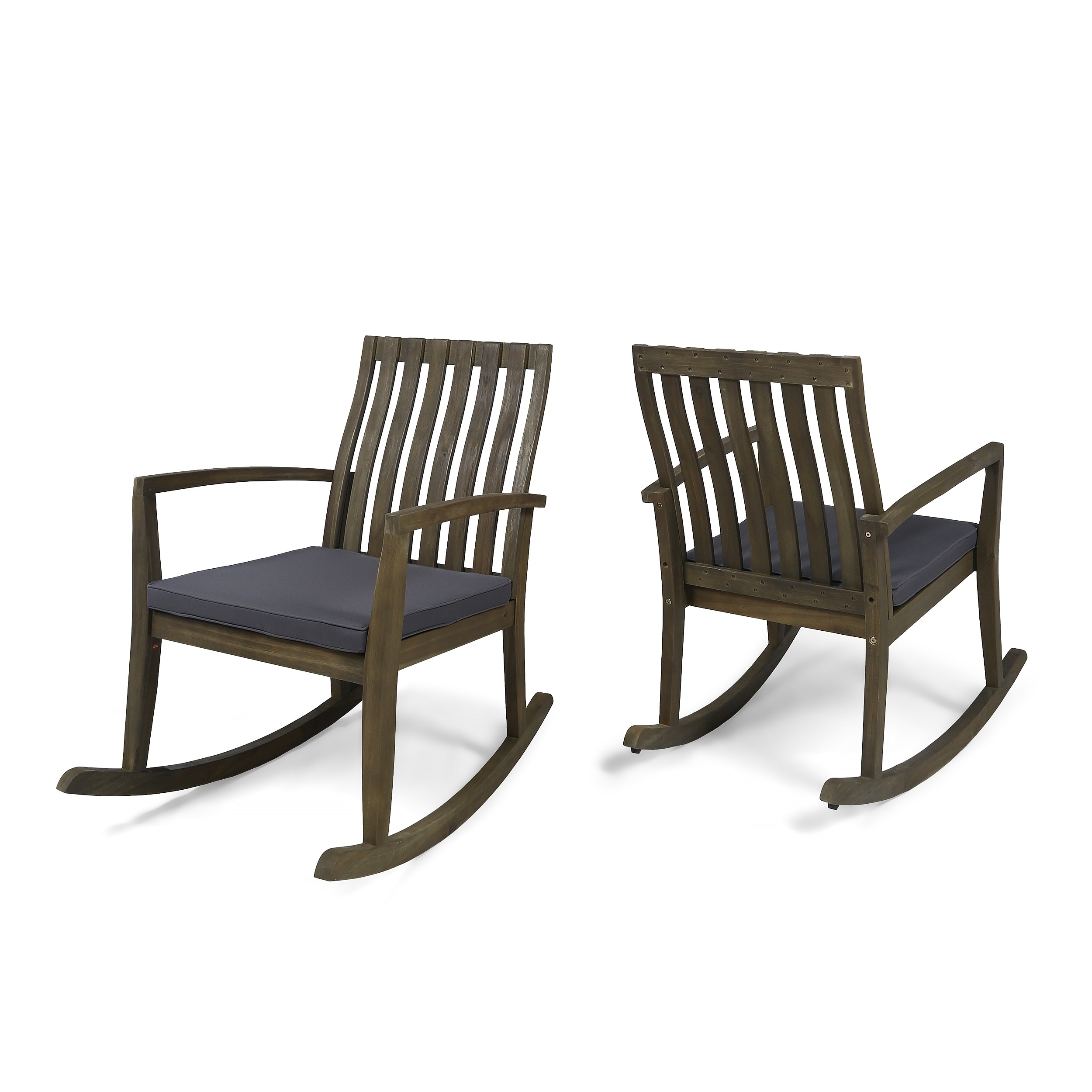 Colmena Outdoor Acacia Wood Rocking Chair With Water Resistant Cushions Set Of 2 By Christopher Knight Home