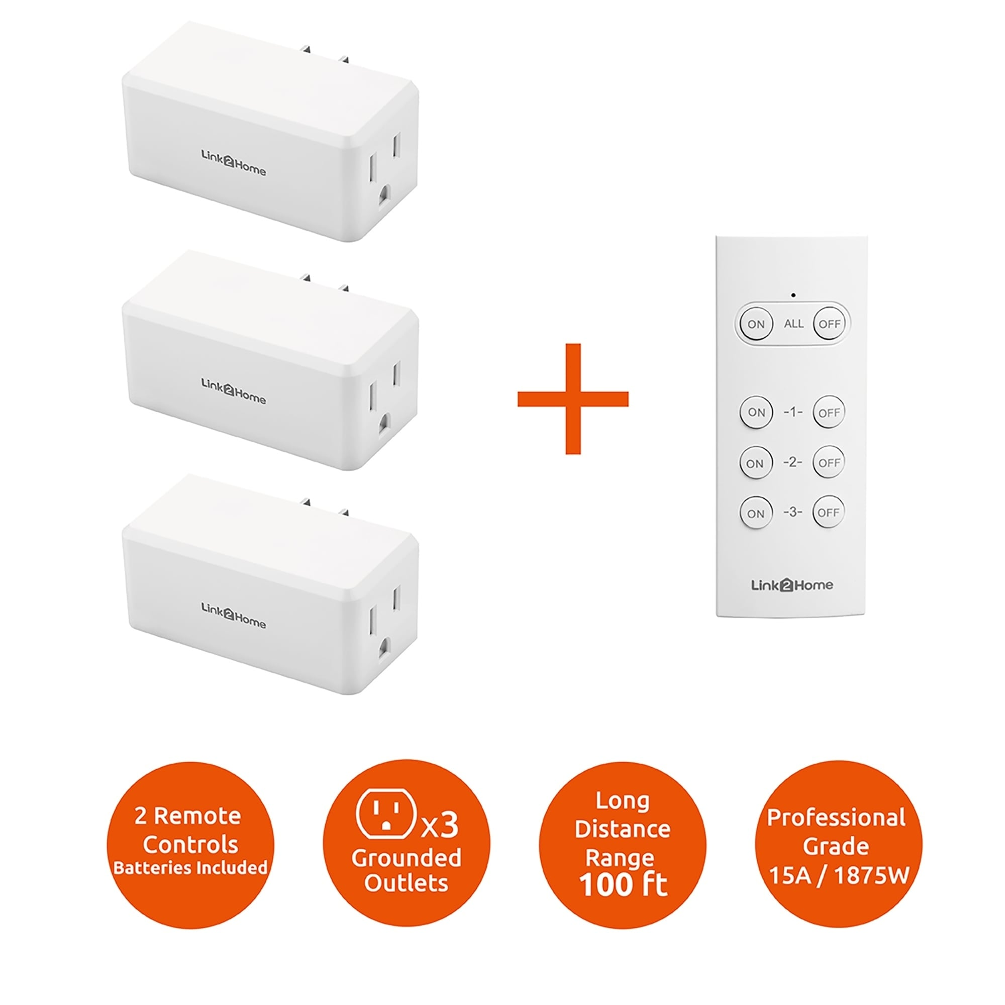 Link2home Wireless Remote Control Outlet Light Switch 100 Ft Range Unlimited Connections Compact Side Plug White 1 Free Shipping On Orders