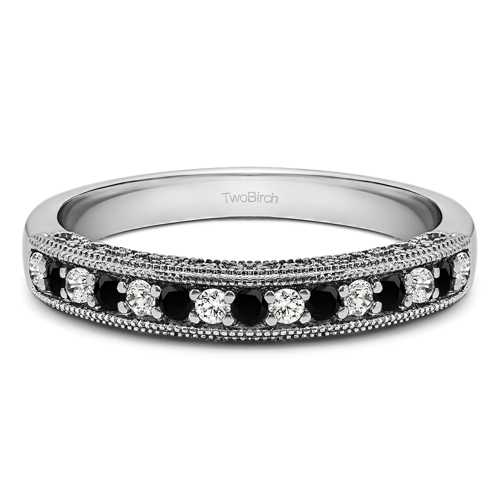 Filigree Wedding Band.Sterling Silver Vintage Milgrain Filigree Wedding Band With Black And White Diamonds G H I2 0 15 Cts Twt