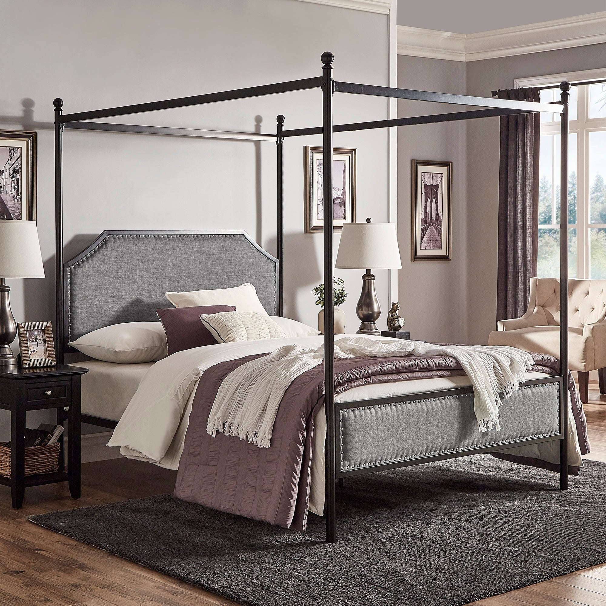 Rayen Grey Upholstered Metal Canopy Queen Bed By Inspire Q Clic