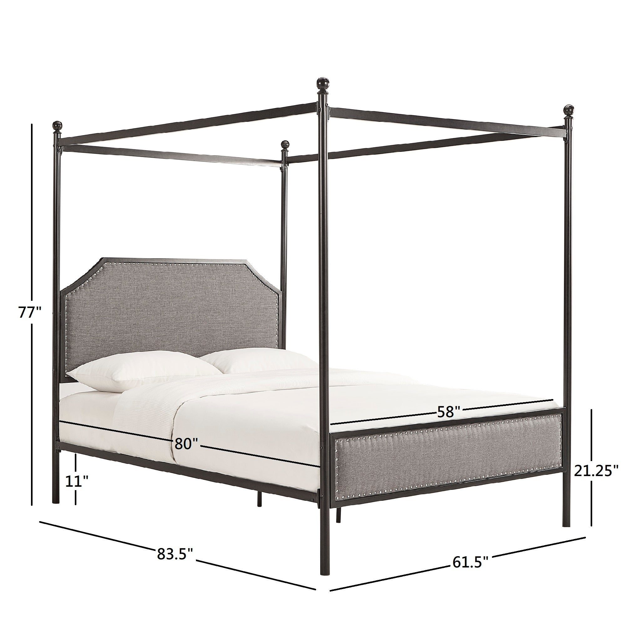 Rayen Grey Upholstered Metal Canopy Queen Bed By Inspire Q Clic On Free Shipping Today 27890304