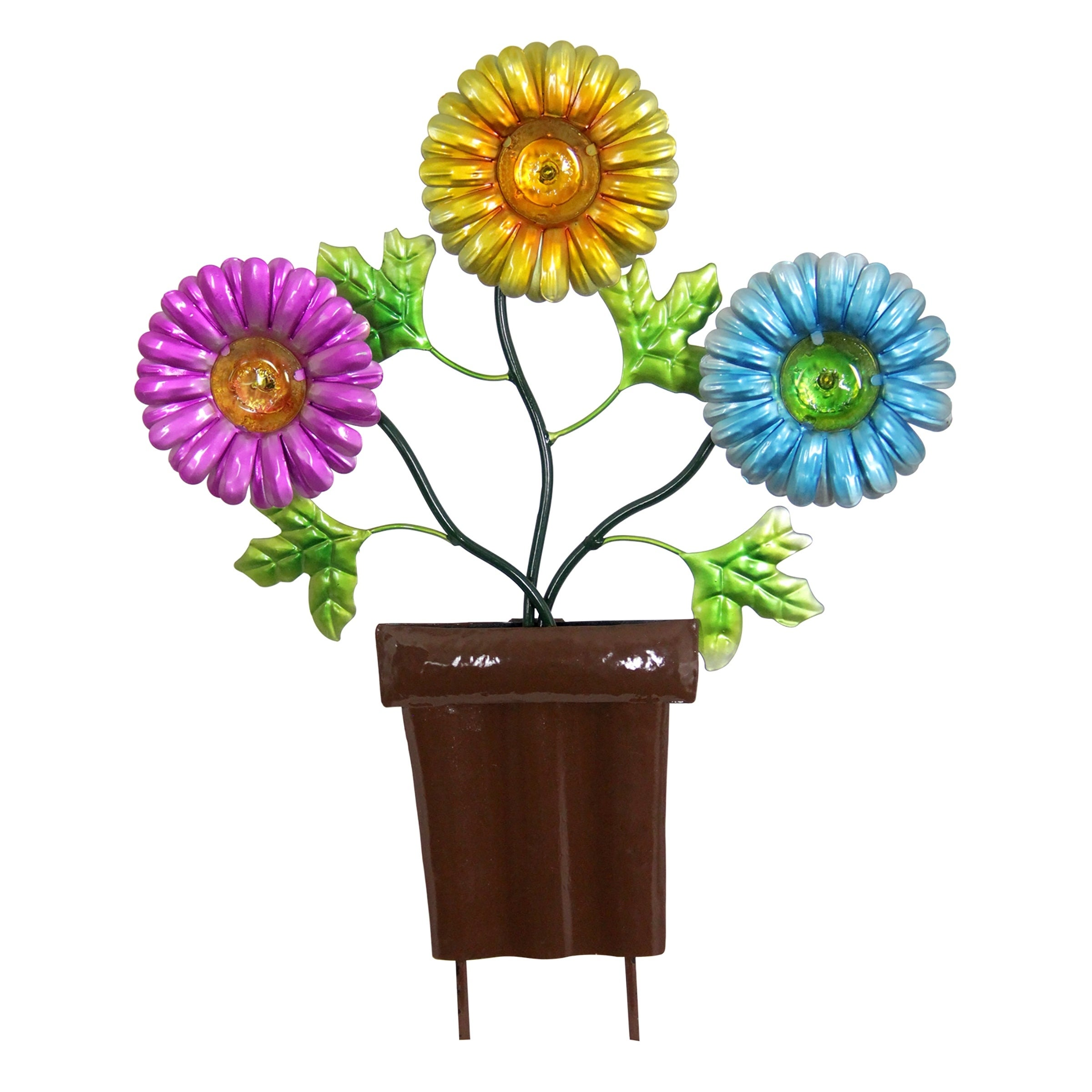 Shop Solar Metal Flowers in Pots Garden Stakes Brown Pot - Free Shipping On Orders Over $45 - Overstock - 27913222  sc 1 st  Overstock.com & Shop Solar Metal Flowers in Pots Garden Stakes Brown Pot - Free ...