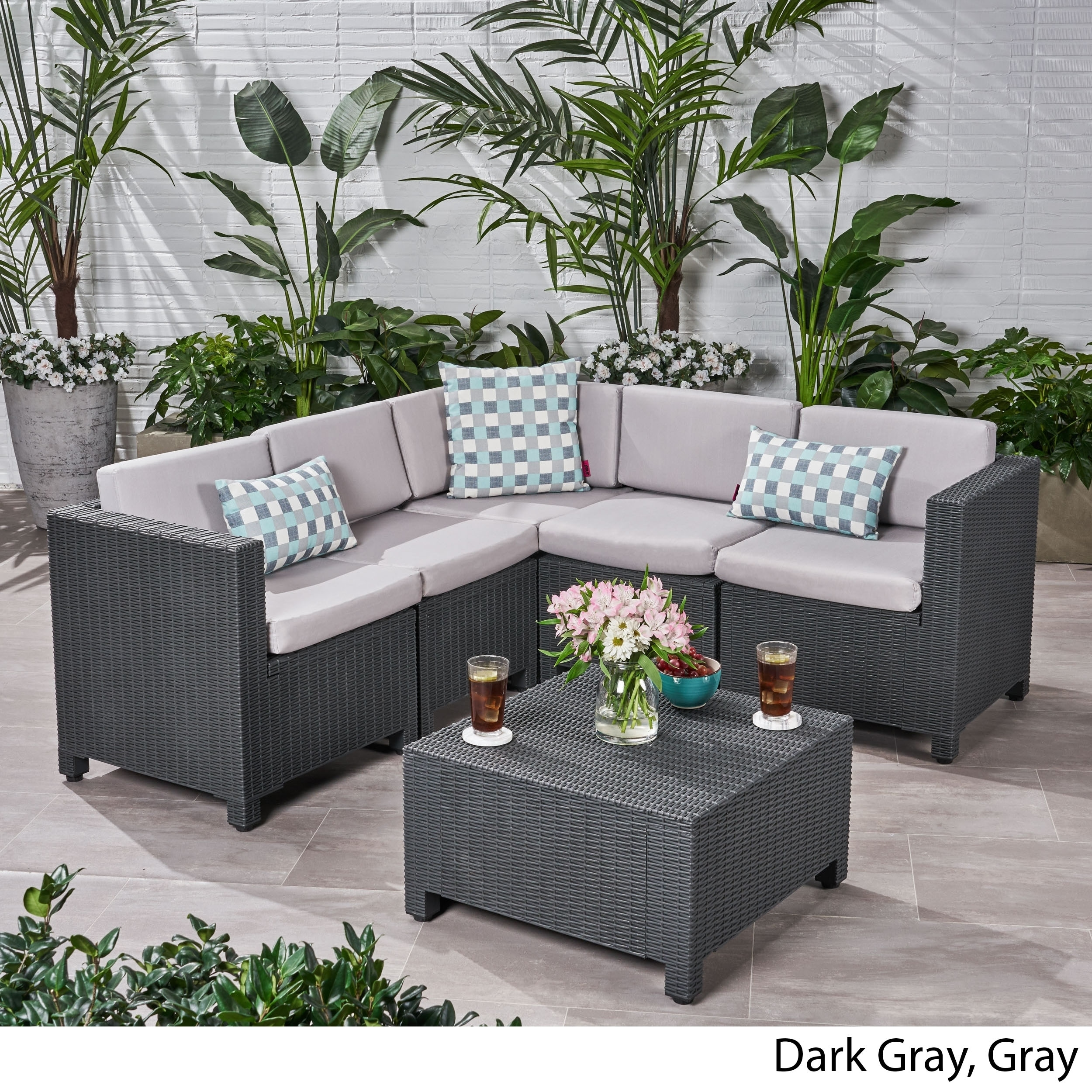 Shop Waverly Outdoor 5 Seater Faux Wicker Sectional Sofa Set with ...