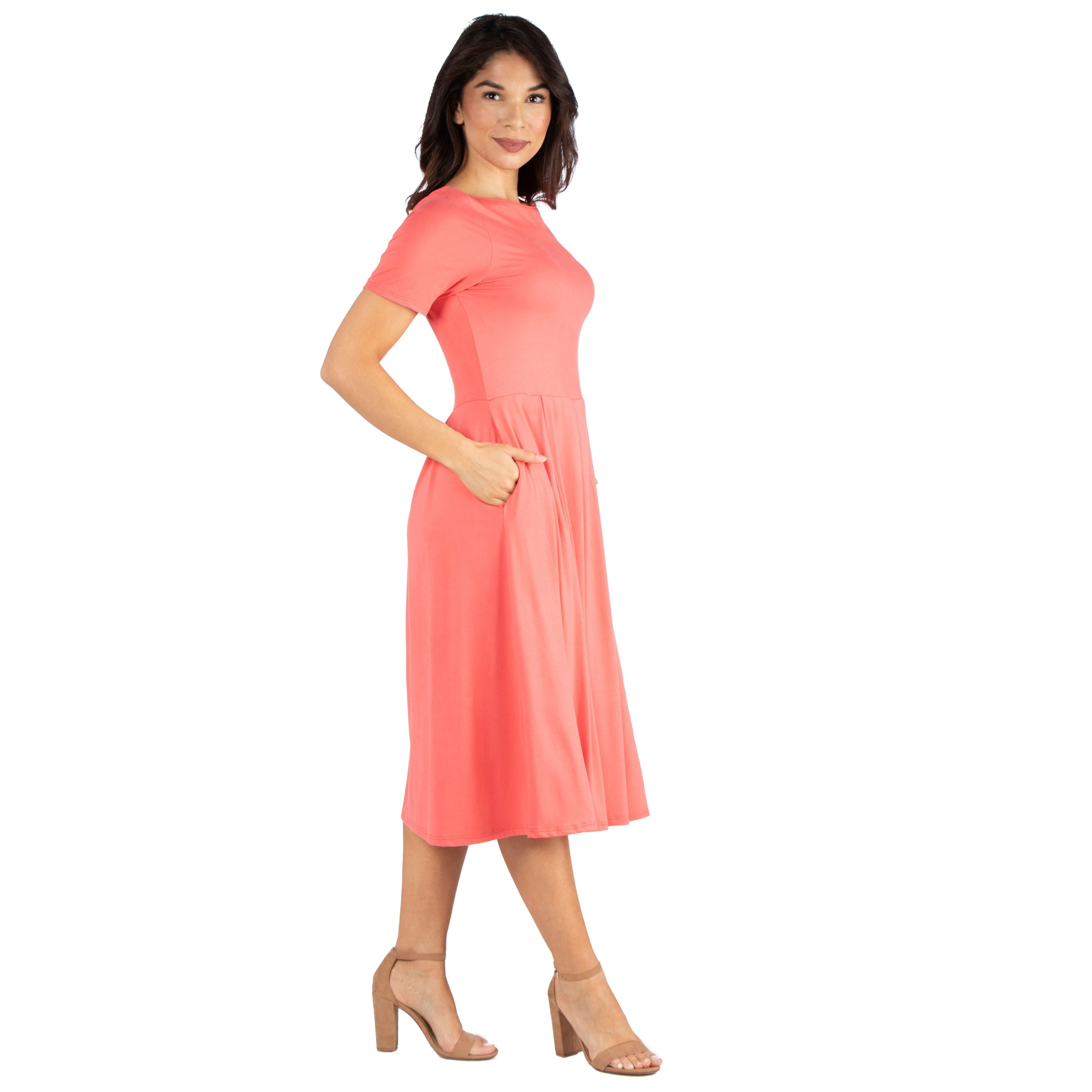 70938879933 Shop 24seven Comfort Apparel Short Sleeve Midi Skater Dress With Pockets -  Free Shipping On Orders Over  45 - Overstock - 27983616