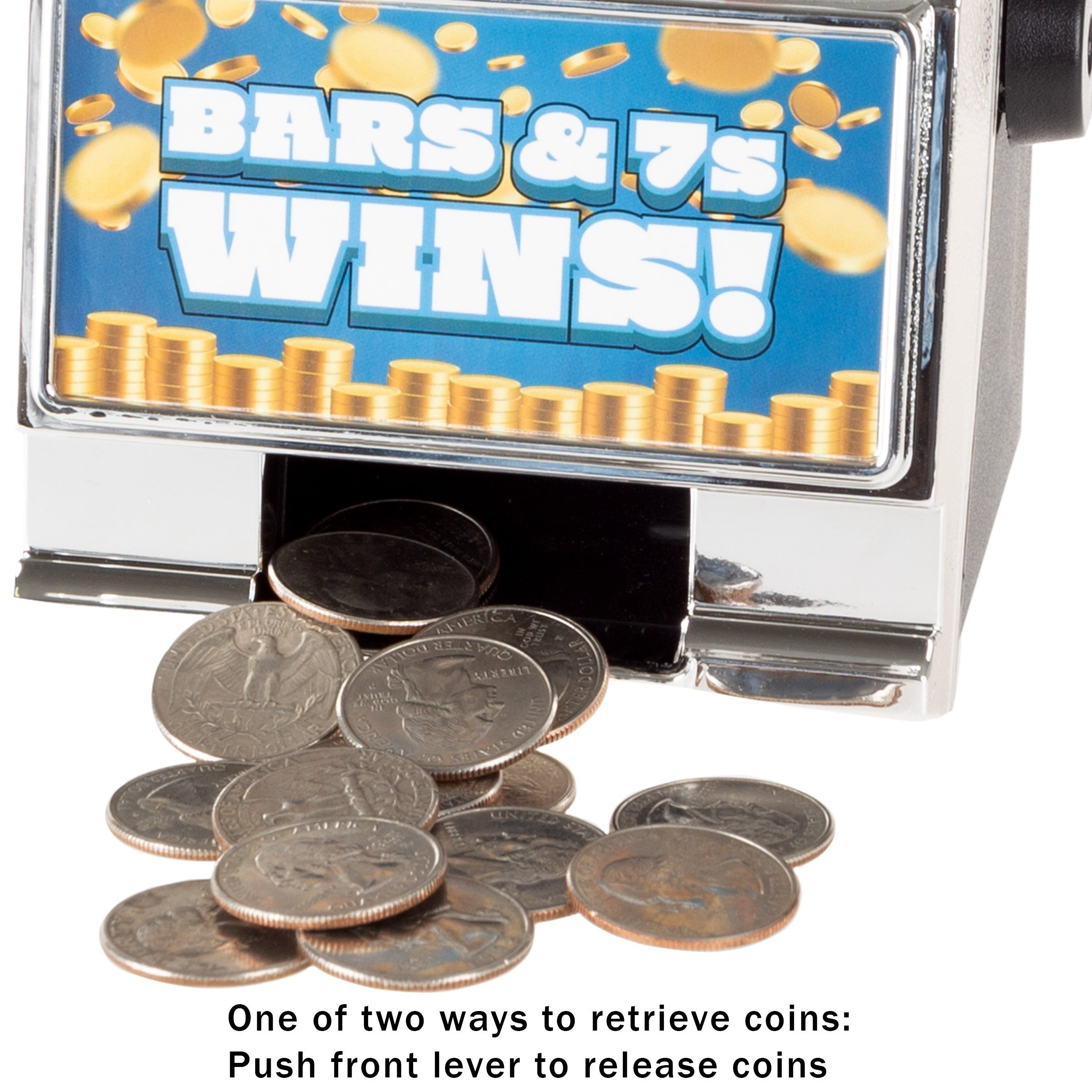 Slot Machine Coin Bank- Electronic Realistic Mini Tabletop Novelty Casino  Style Toy with Lever by Trademark Gameroom