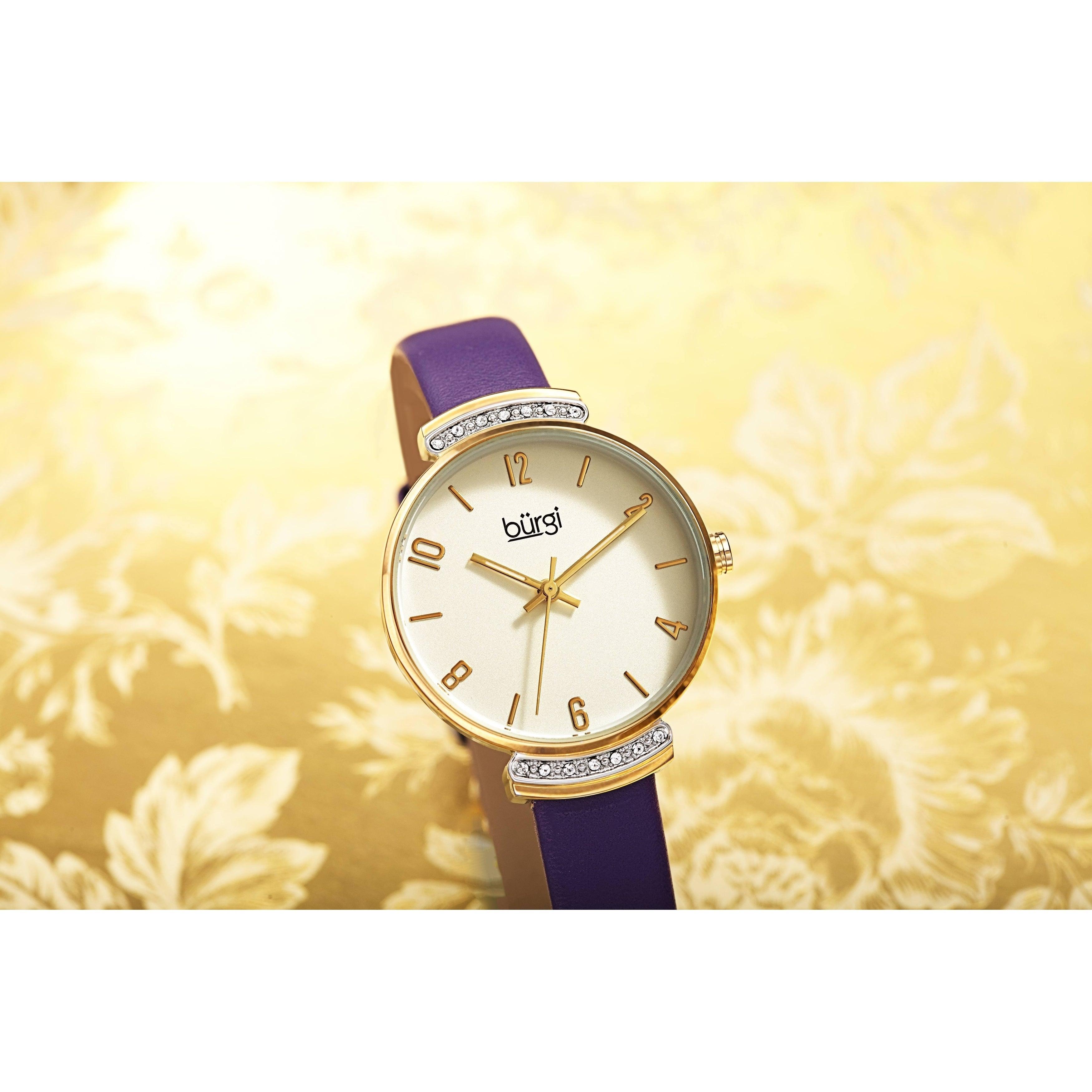 Classic Slim Burgi Crystal Women's Swarovski Leather Watch Strap PZkXOiTu