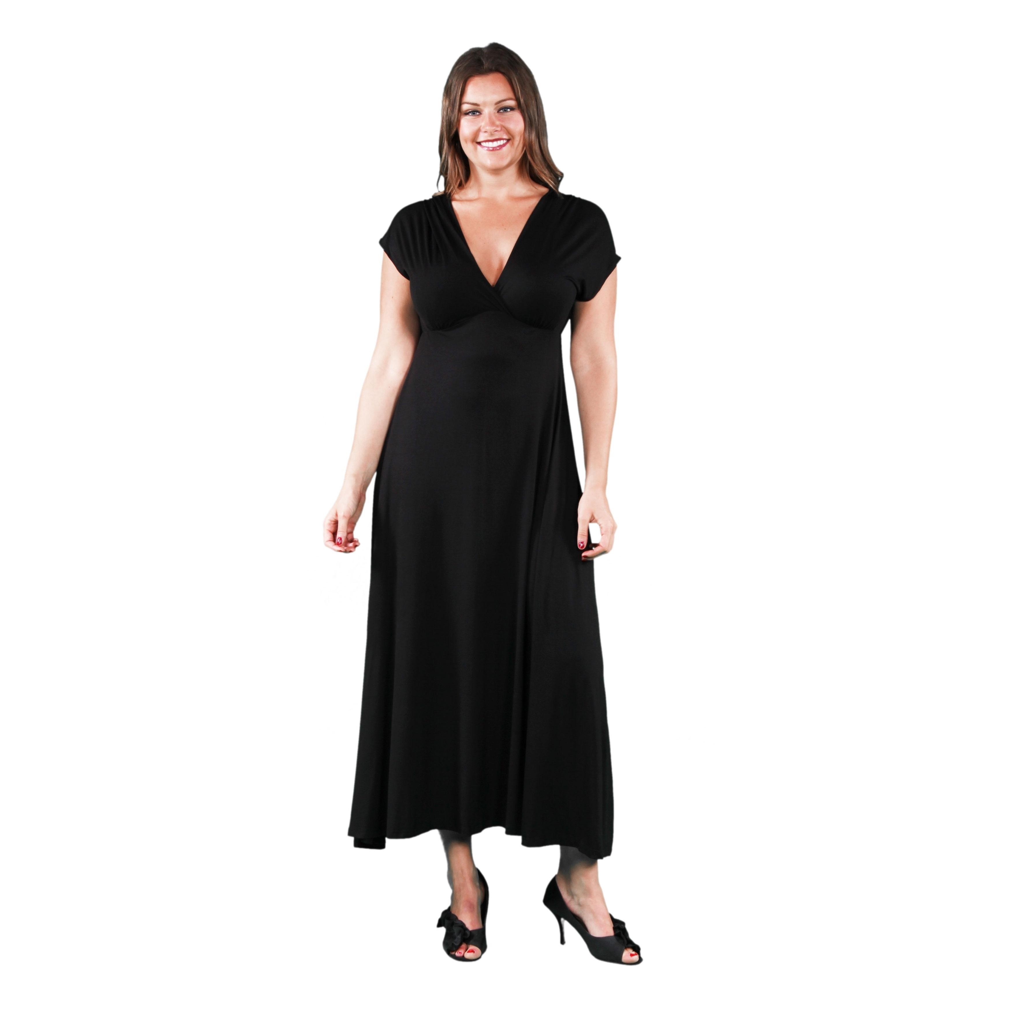 c596532b787 Shop 24seven Comfort Apparel Empire Waist V Neck Plus Size Maxi Dress - On  Sale - Free Shipping On Orders Over  45 - Overstock - 27994897