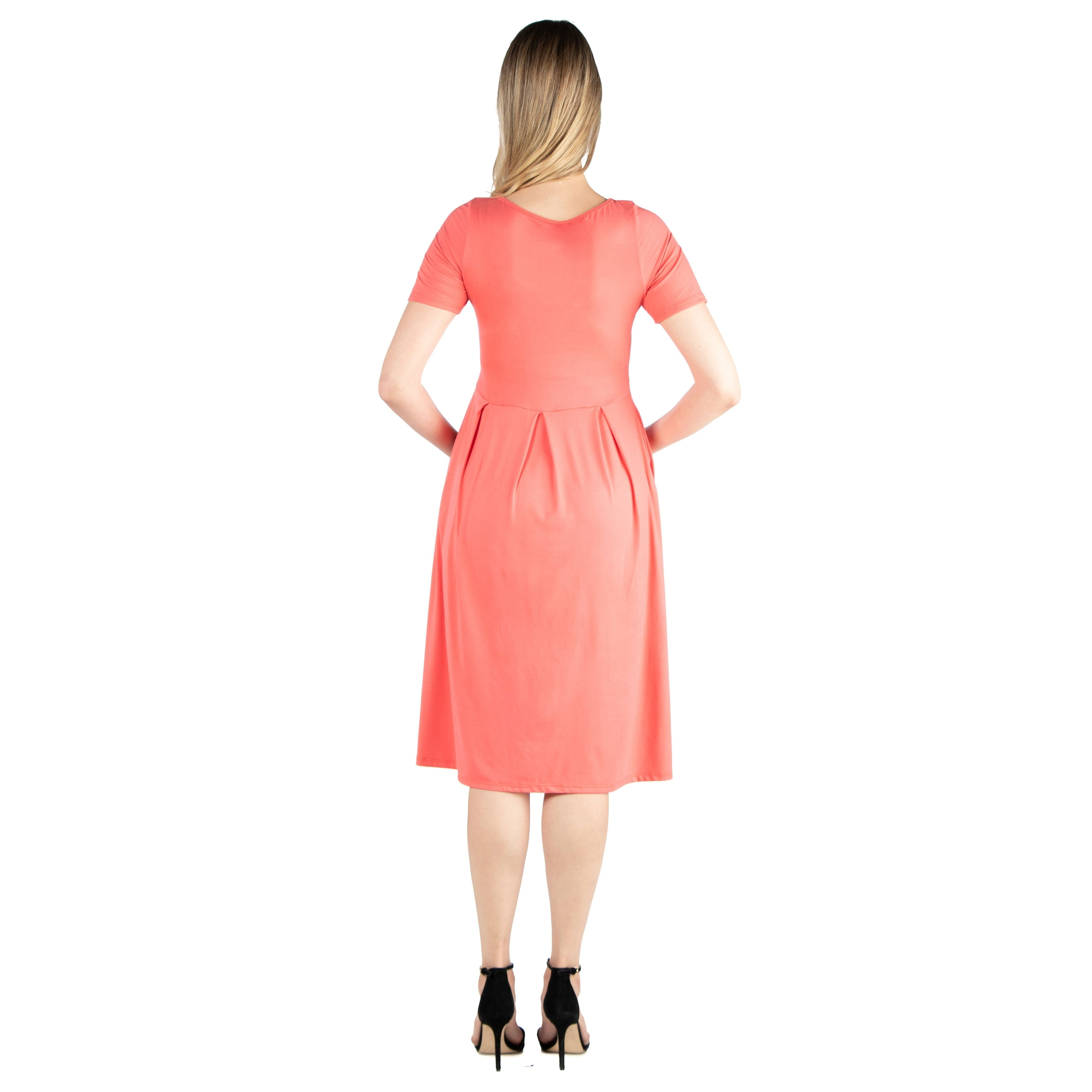 fecf735d460 Shop 24seven Comfort Apparel Short Sleeve Maternity Midi Skater Dress With  Pockets - Free Shipping On Orders Over  45 - Overstock - 28003637
