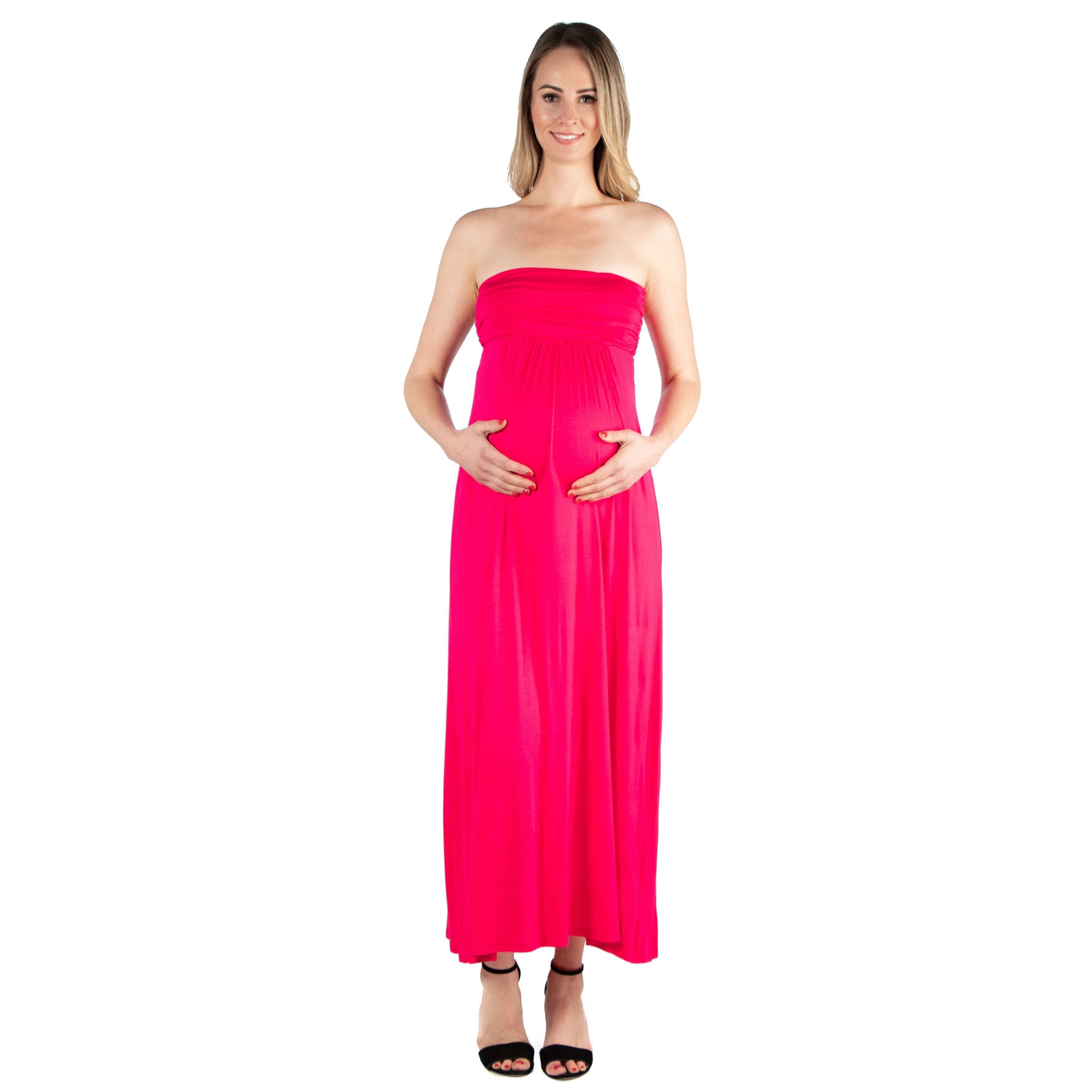 8091fa84f95 Shop 24seven Comfort Apparel Maternity Strapless Maxi Dress - Free Shipping  On Orders Over  45 - Overstock - 28003958