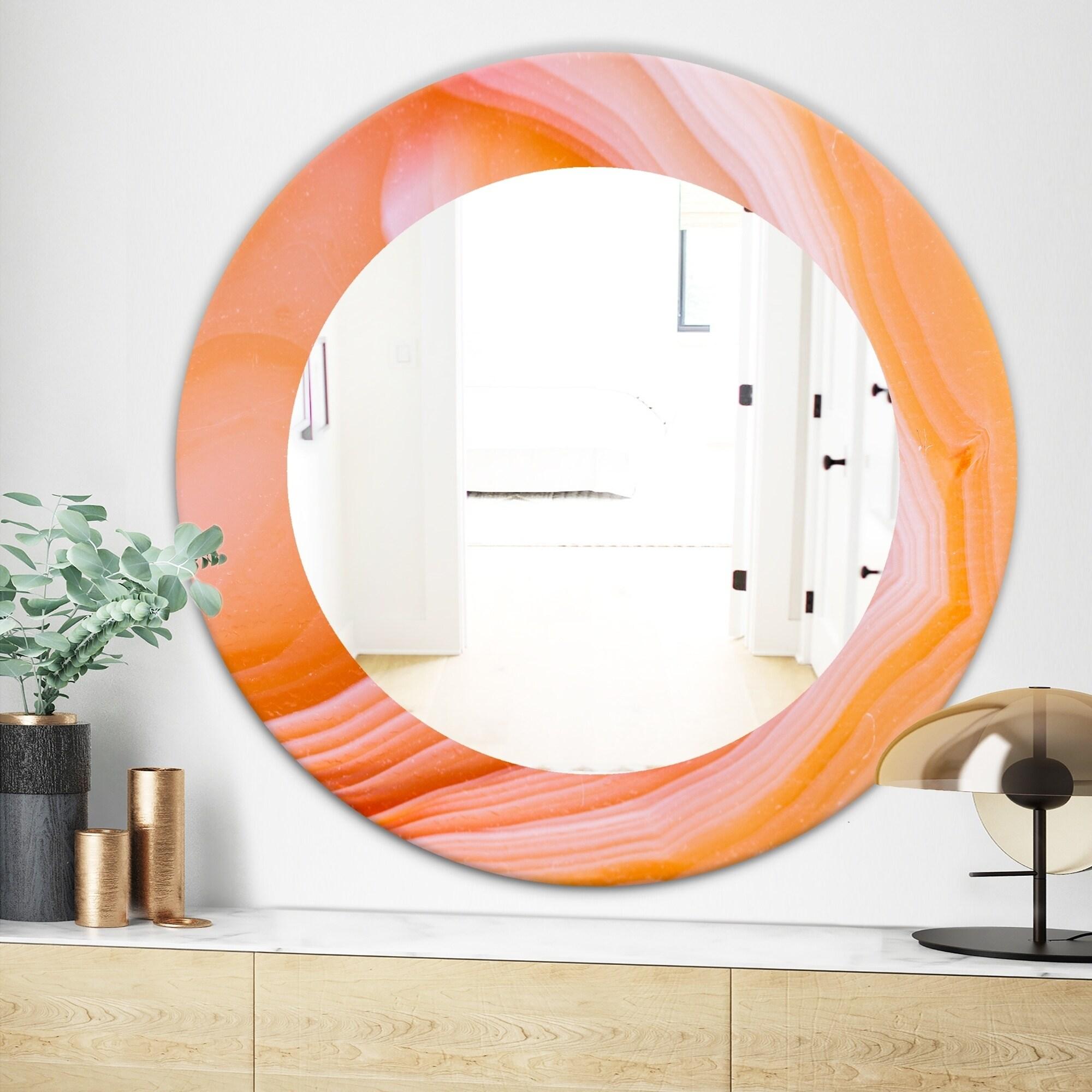 Designart Marbled Geode 10 Mid Century Modern Mirror Frameless Oval Or Round Bathroom Mirror Orange
