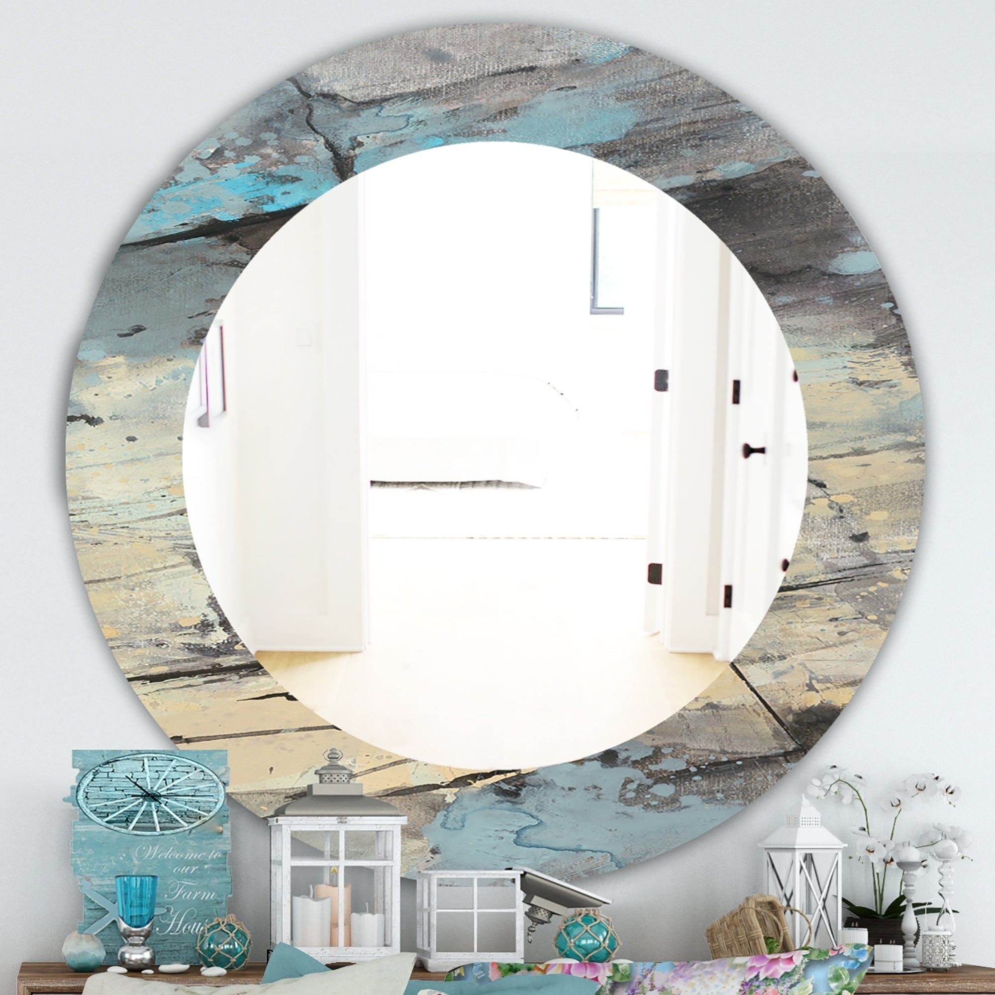 Designart Rock Teal Panel Ii Modern Mirror Frameless Oval Or Round Wall Mirror Multi On Sale Overstock 28004745