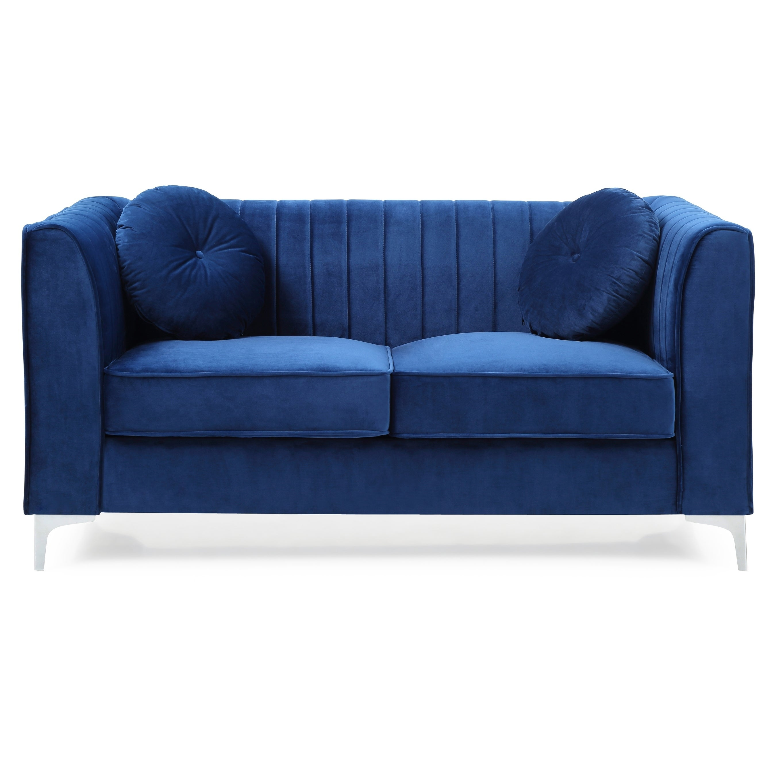 Shop Lyke Home Channel Navy Blue Tufted Loveseat On Sale Overstock 28014185