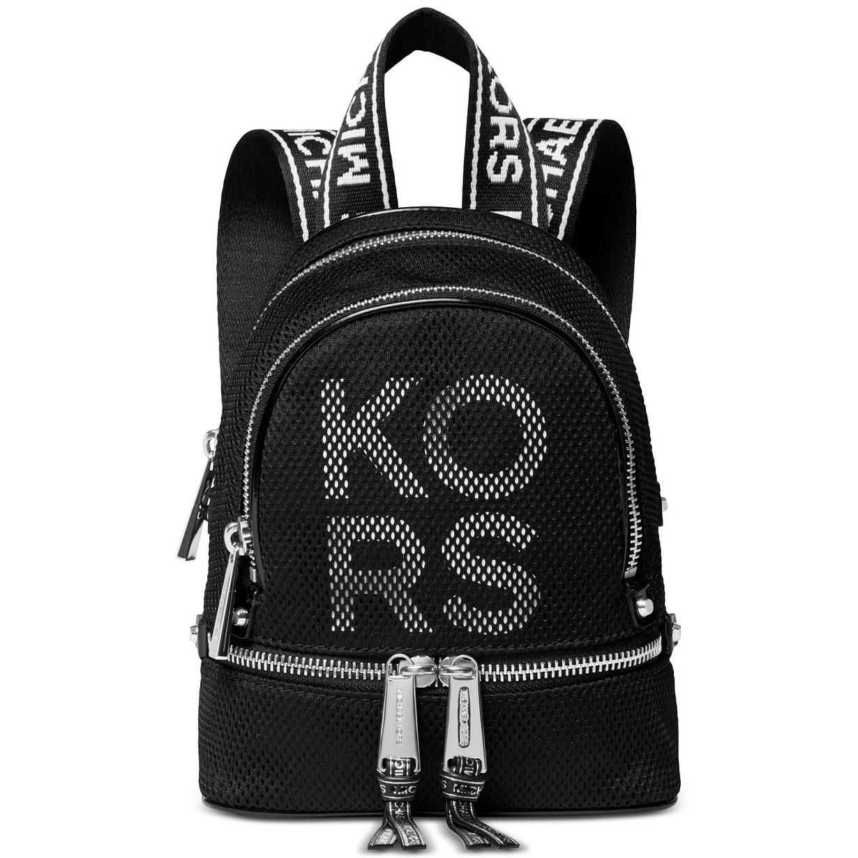 acd9e52962a2 Shop MICHAEL Michael Kors Rhea Zip Extra Small Logo Backpack Black/Silver -  Free Shipping Today - Overstock - 28021381