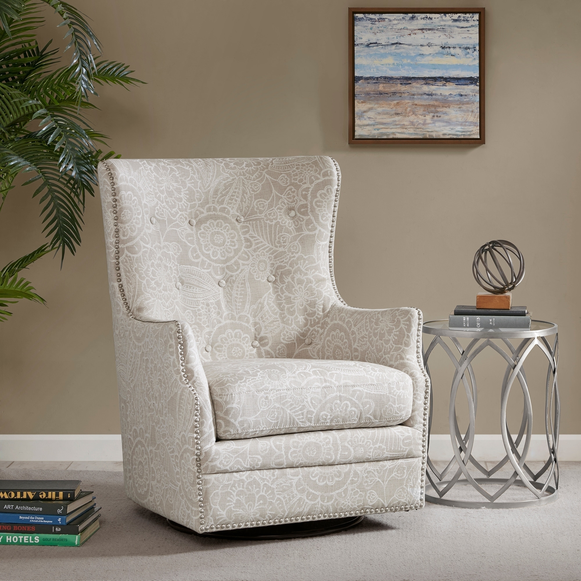 Superbe Madison Park Ella Cream Swivel Glider Chair