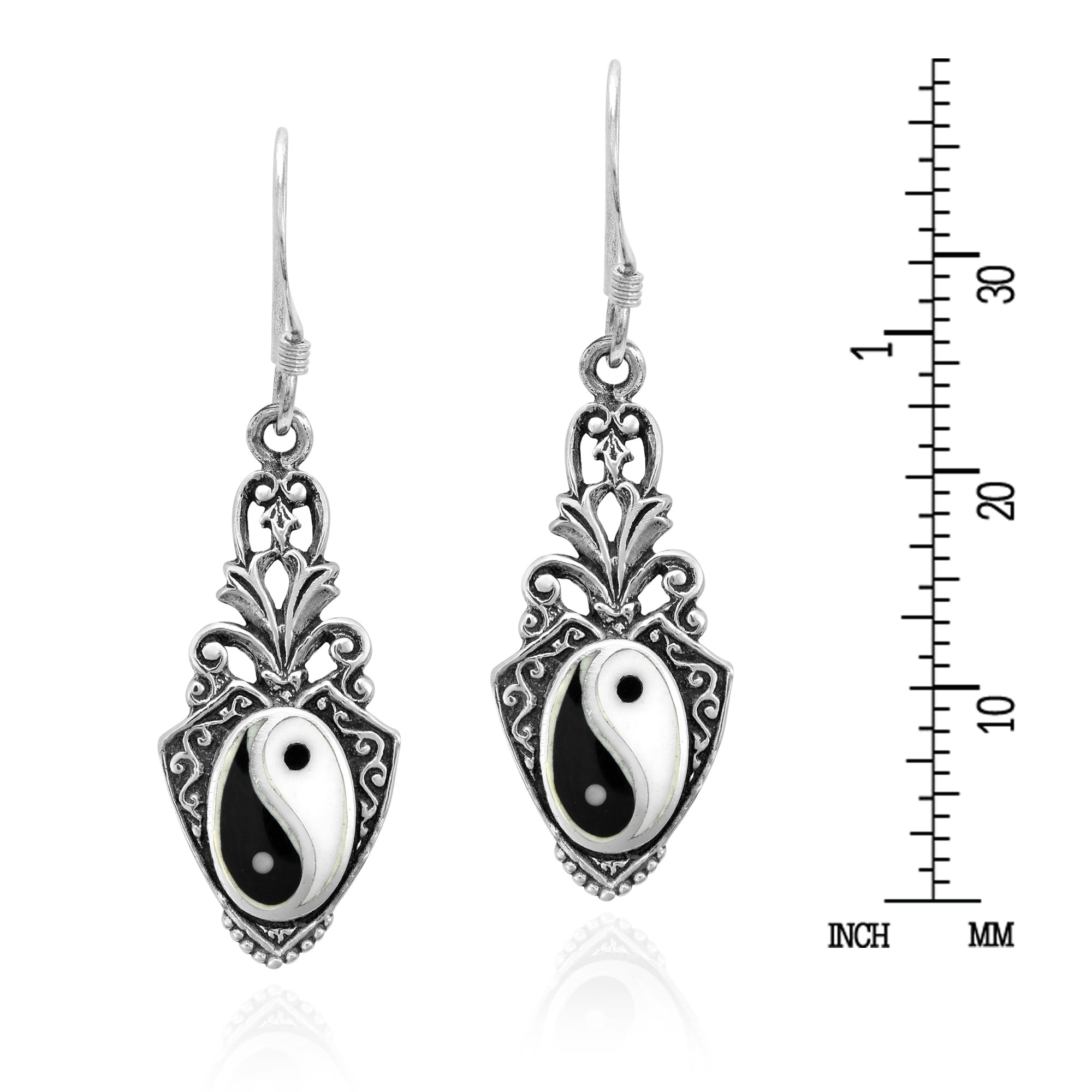 57ffcf837 Handmade Vintage Style Balance of Life Yin Yang Symbol Sterling Silver  Dangle Earrings (Thailand)