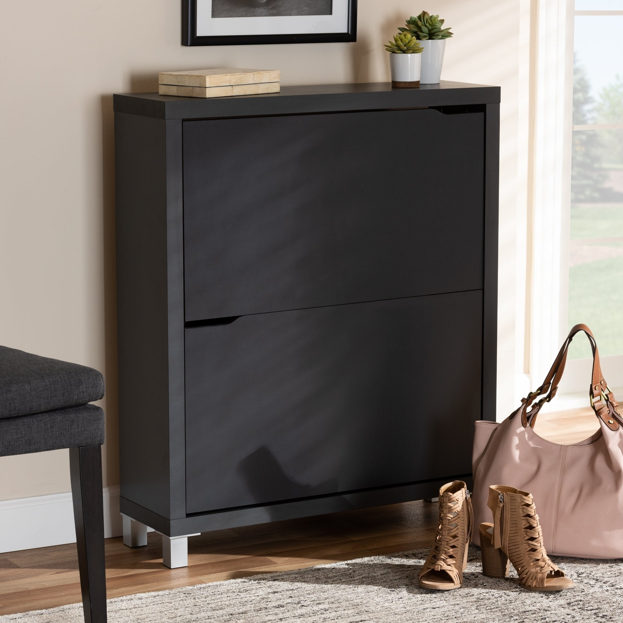 Contemporary Shoe Storage Cabinet With 4 Fold Out Racks