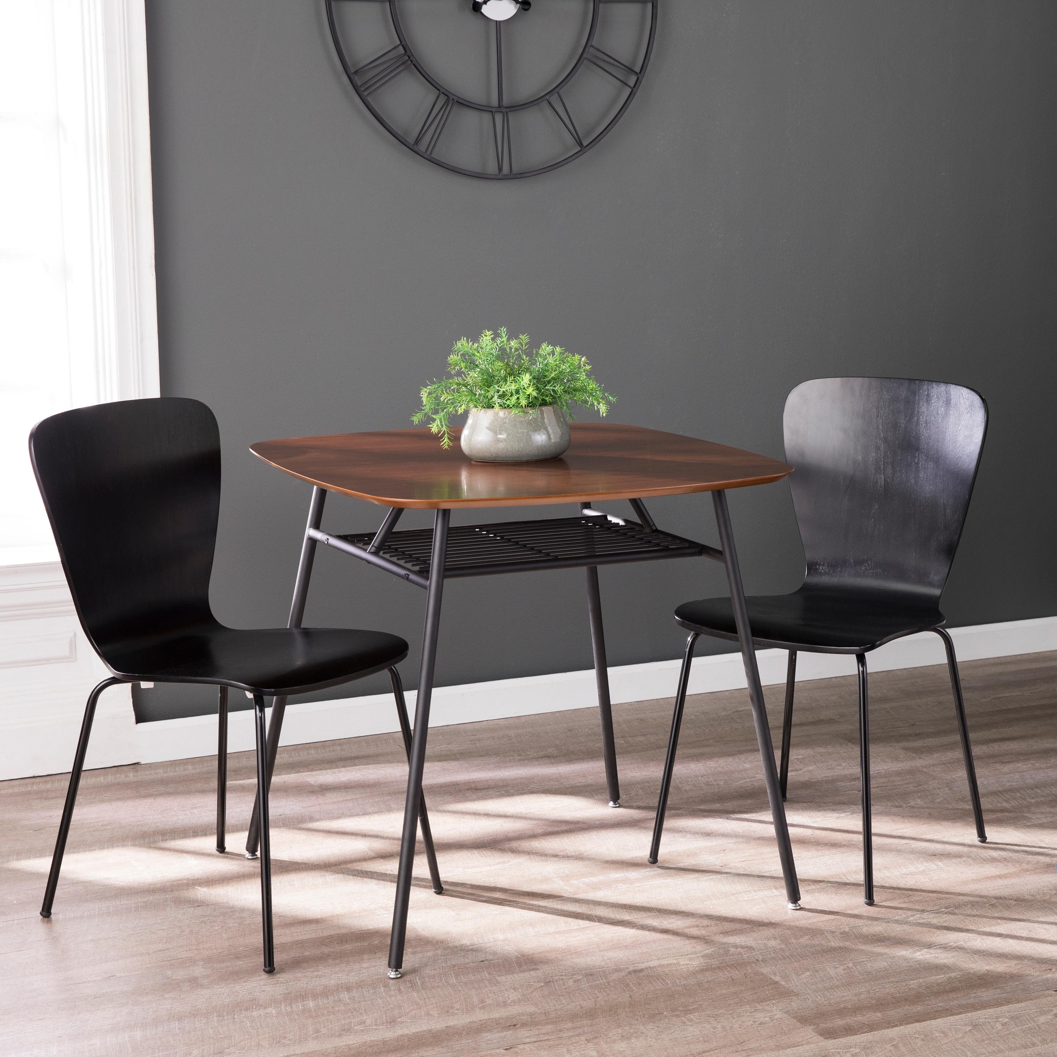 Carson Carrington Walnut Square Dining Table Wood Top W Black Metal Frame Seats 2