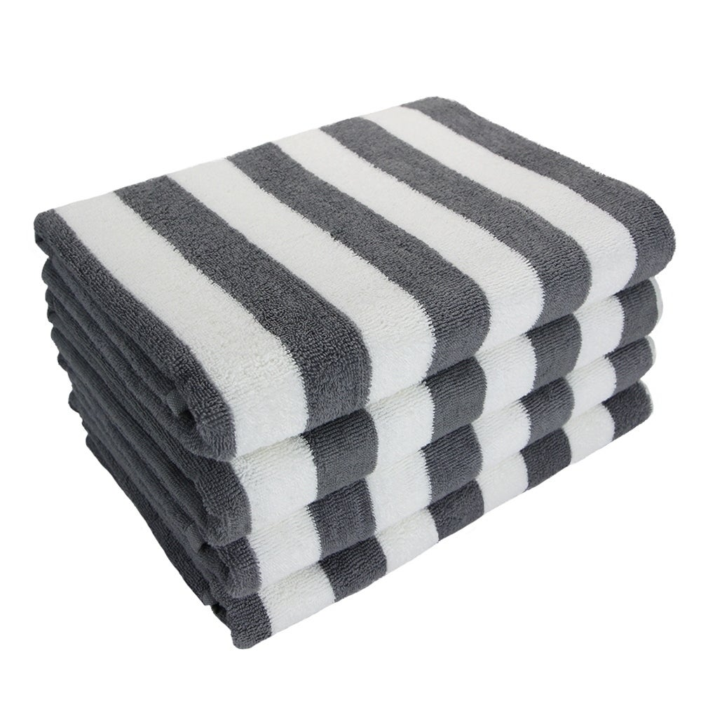 Porch Den Cannes Cabana Striped Oversized Beach Towel 4 Pack