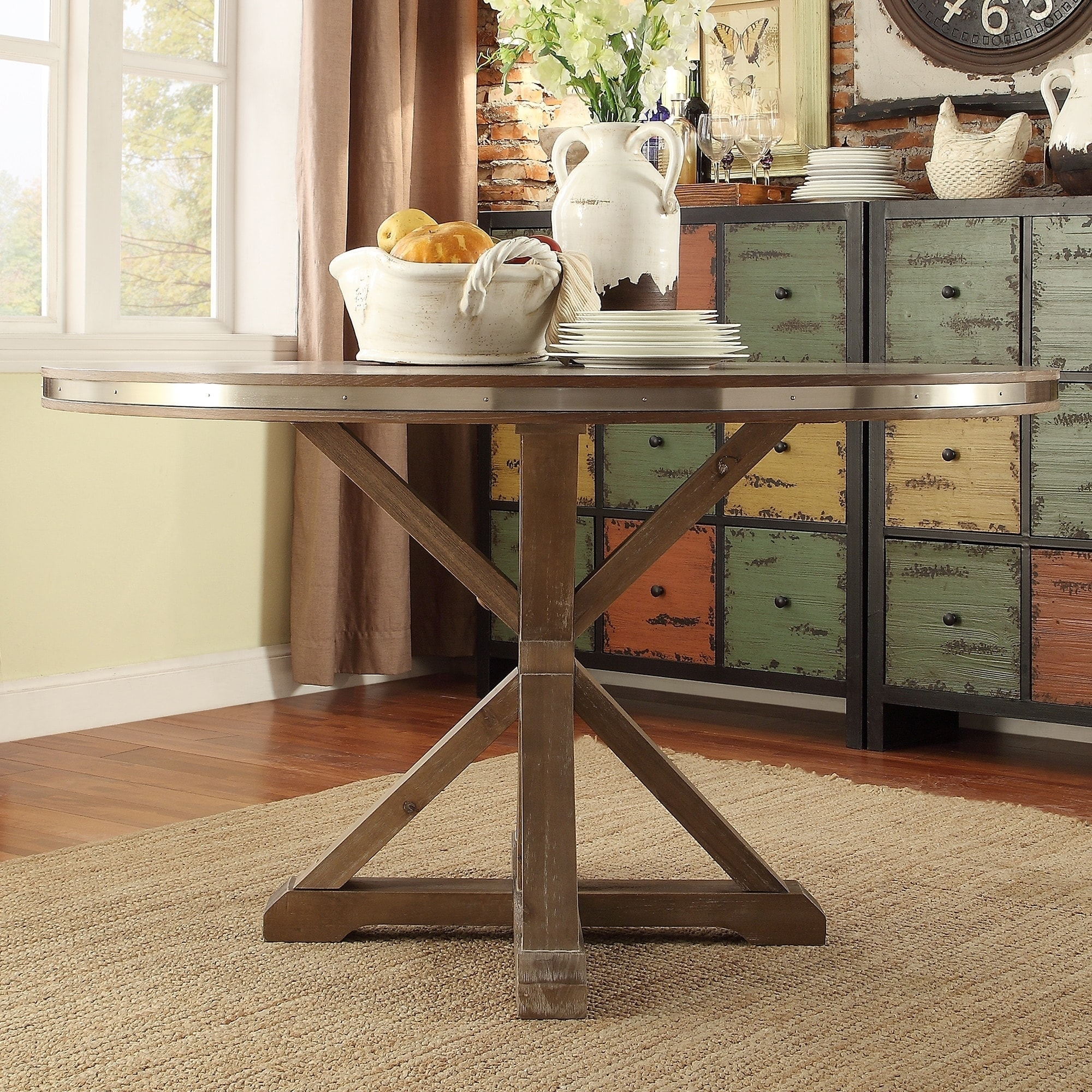Abbott Ii Rustic Stainless Steel Strap Oak Trestle Round Dining Table By Inspire Q Brown