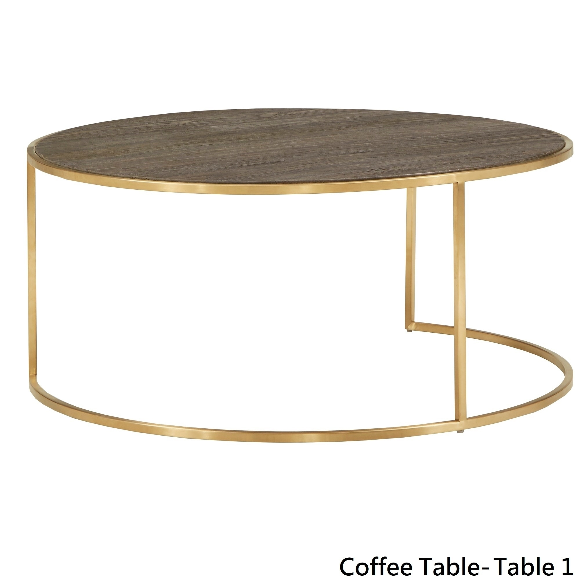 Subira Antique Gold Finished Metal And Reclaimed Wood Round Coffee Table Nesting Set By Inspire Q Bold