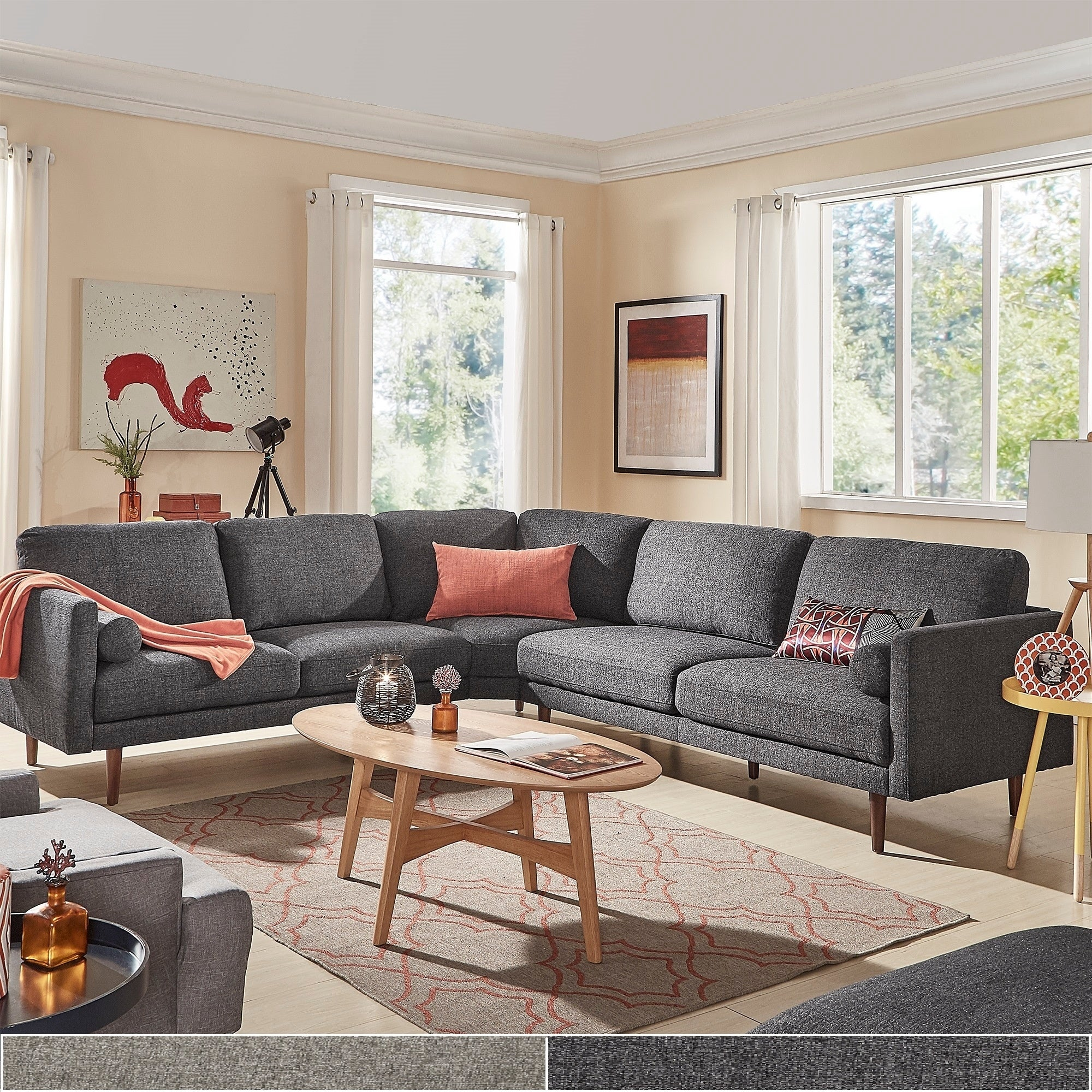 Shop Oana Mid-Century L-shape Sectional Sofa by iNSPIRE Q Modern ...