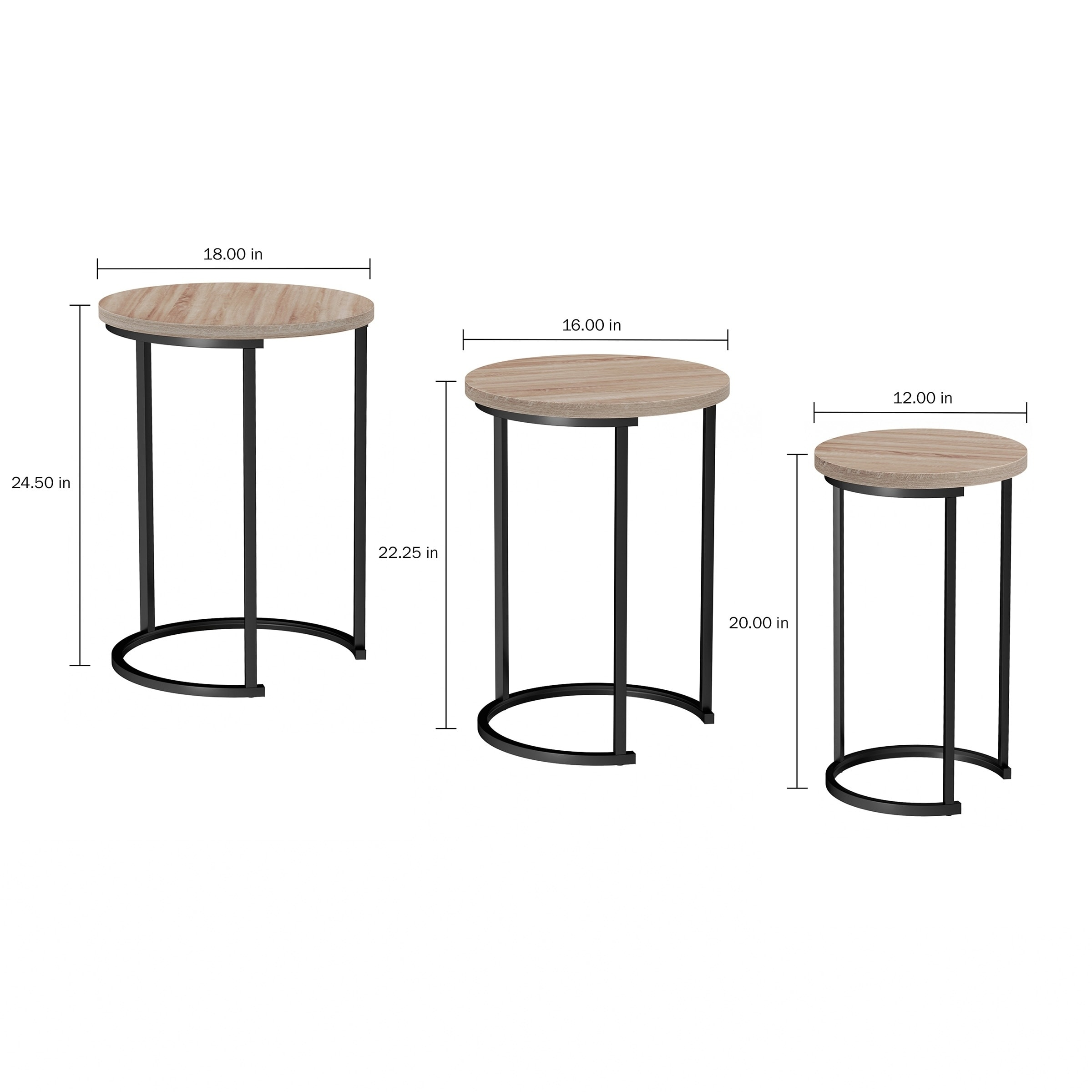 Lavish Home Accent Furniture Woodgrain Look Round Nesting Tables With Black Base Set Of 3 On Free Shipping Today 28082290