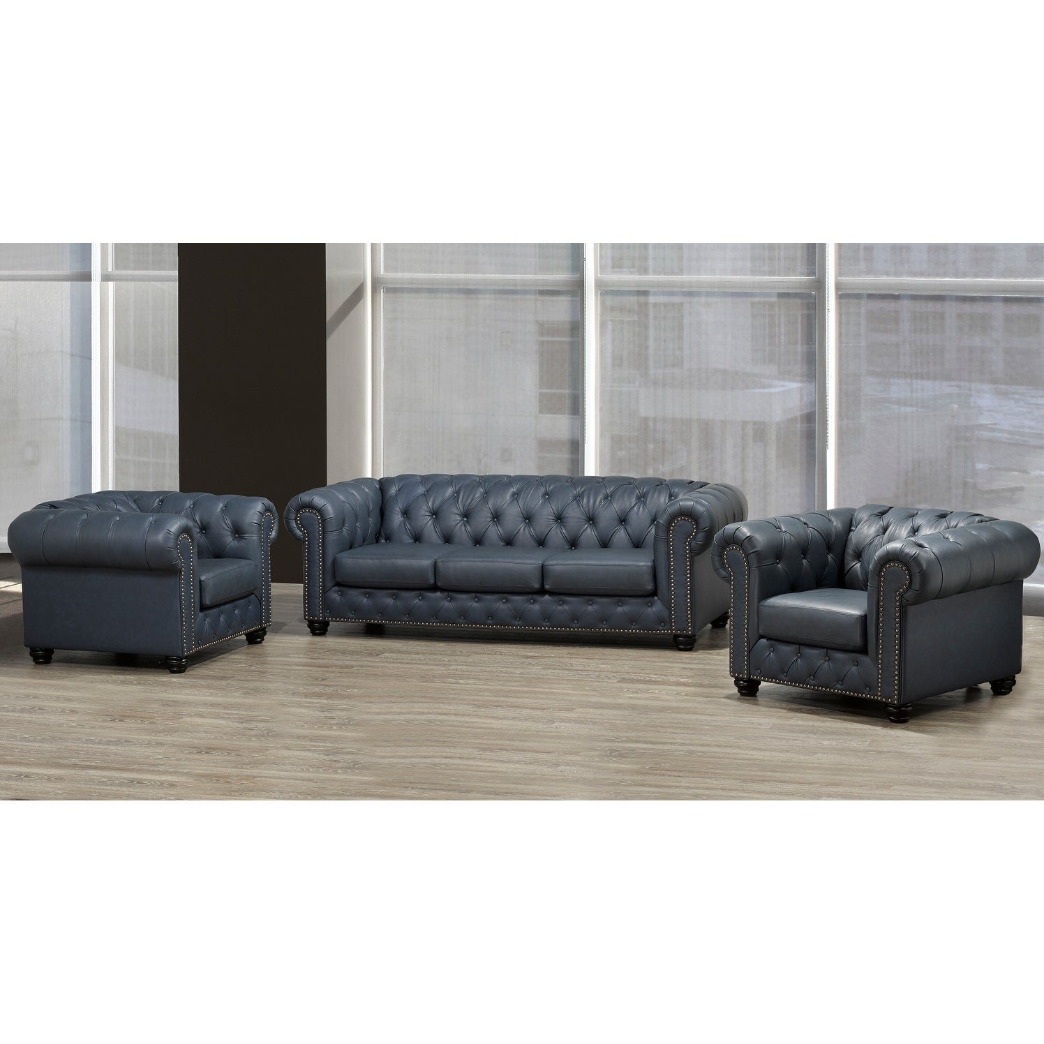 Shop Wigan Top Grain Leather Sofa and Two Chair Set - Free Shipping ...