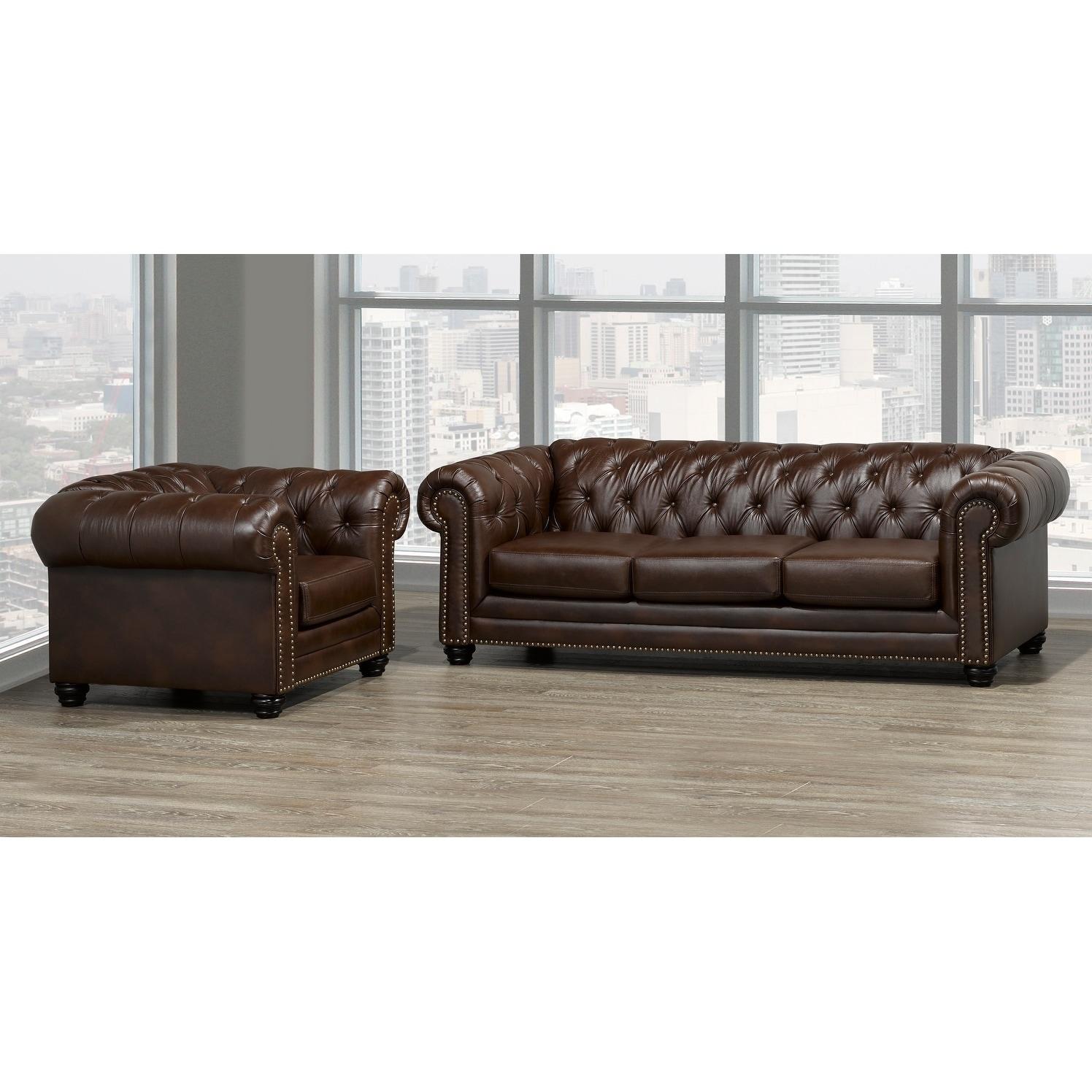 Maryport Top Grain Leather Sofa And Armchair Set