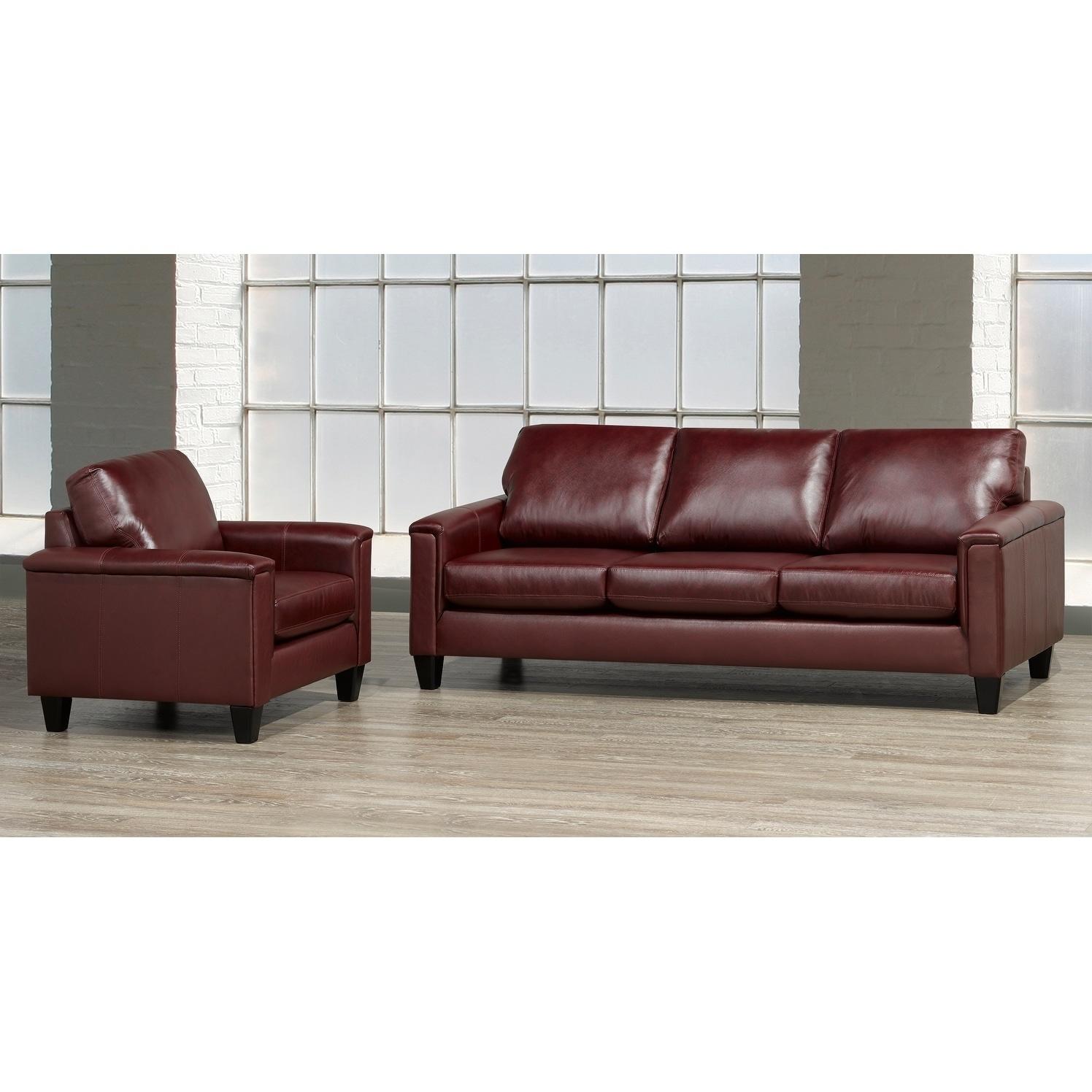Auckland Top Grain Leather Sofa And Armchair Set