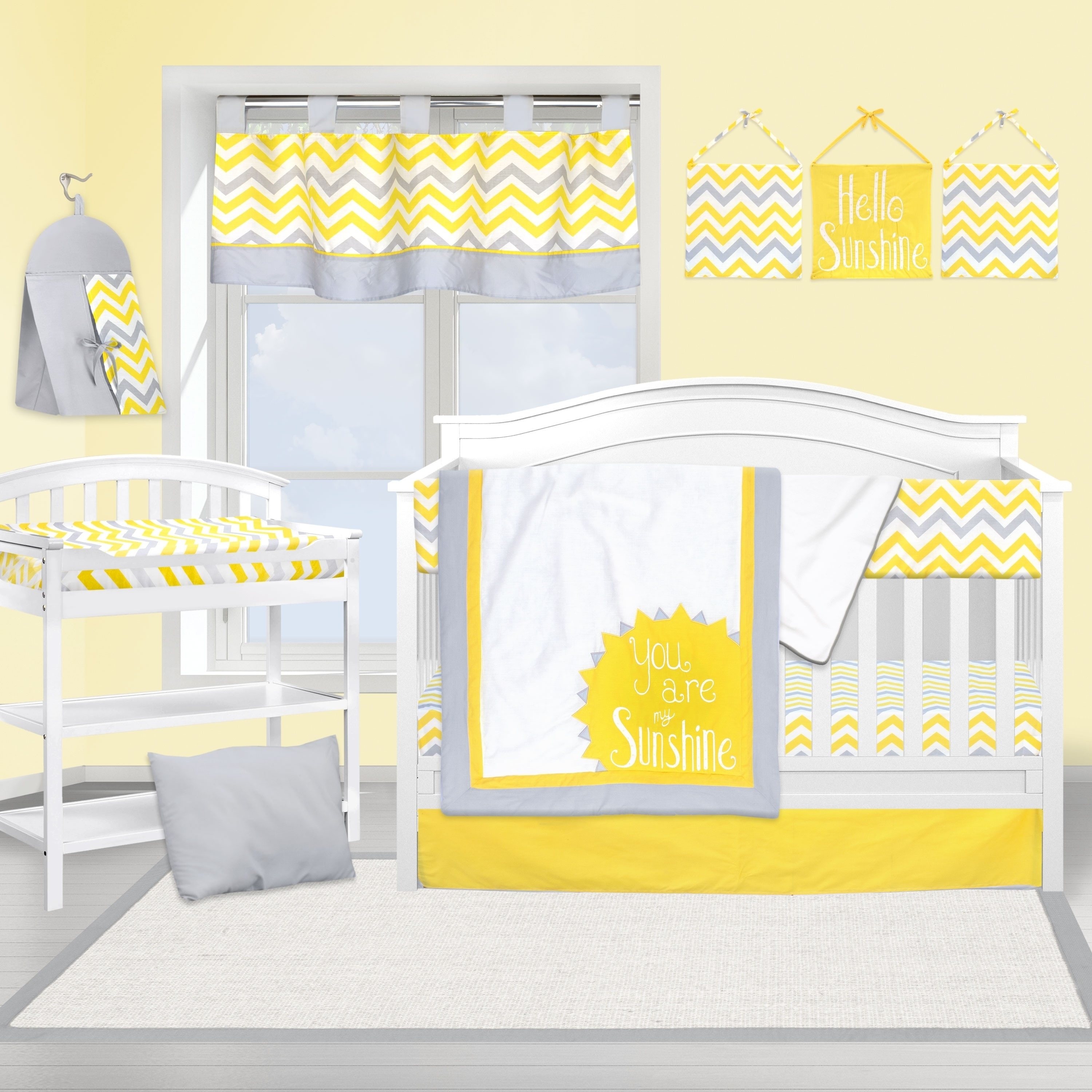 Shop Yellow And Grey Chevron Crib Baby Bedding Set By Pam Grace