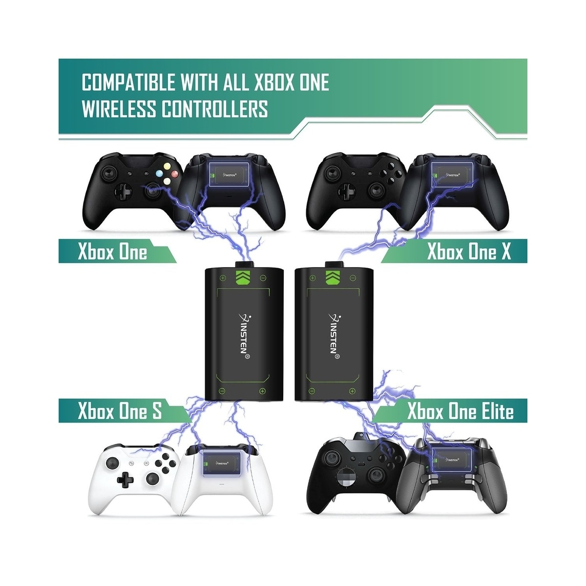 20795fba69a Shop Insten 2X 2500mAh Rechargeable Batteries and Charger Kit for Microsoft  Xbox One/ One S/ One X/ One Elite Wireless Controller - Free Shipping On  Orders ...