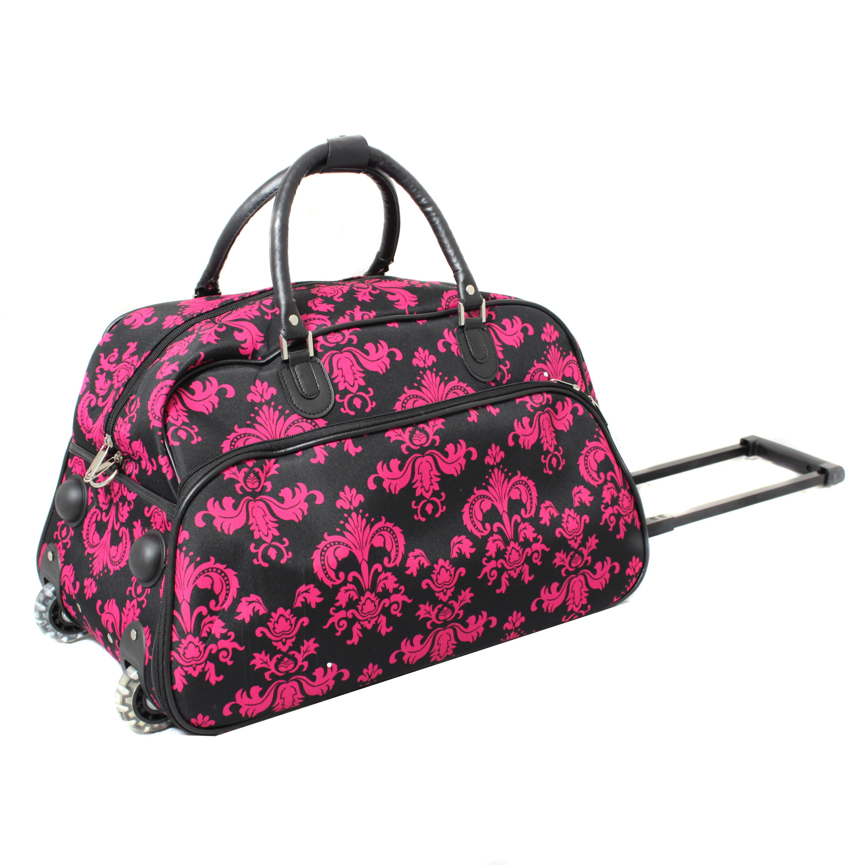 587996565167 World Traveler Designer Prints Fleur-De-Lis 21-inch Carry-on Rolling  Upright Duffel Bag