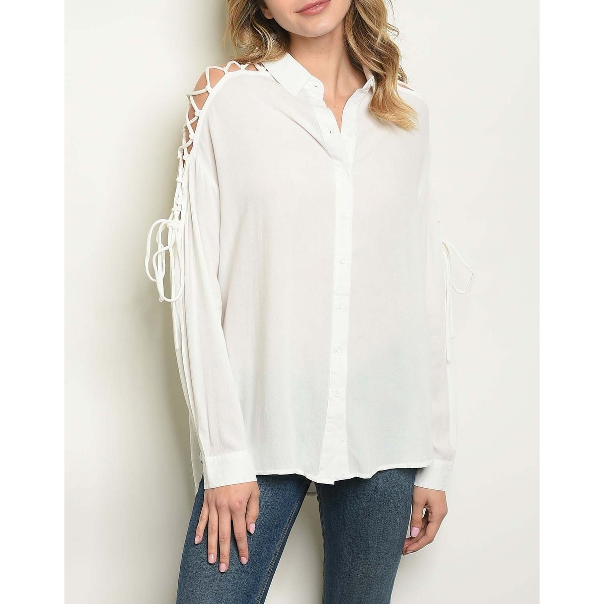 740c34c0f Shop JED Women's Lace-Up Sleeve Button Down Shirt - Free Shipping On ...