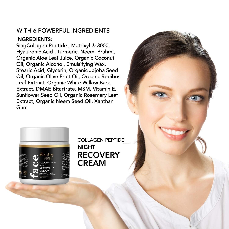 Glamology Herbal Facial Night Cream to Smooth Wrinkles, Skin Renewing, Non  Greasy, Fragrance Free Matrixyl ® 3000 (100 ML)
