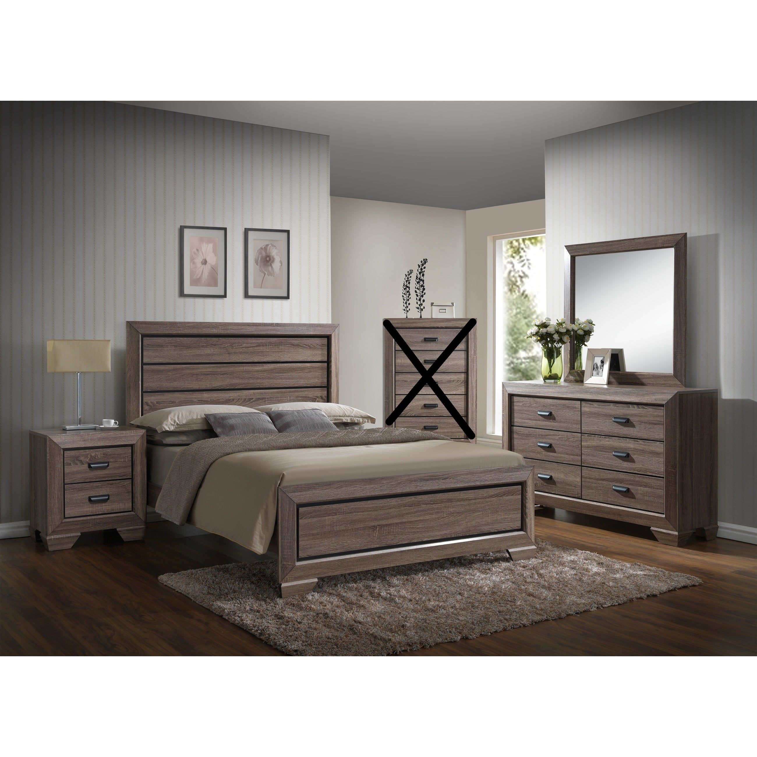 Large Scale Rustic Wooden Grey Queen Bedroom Set